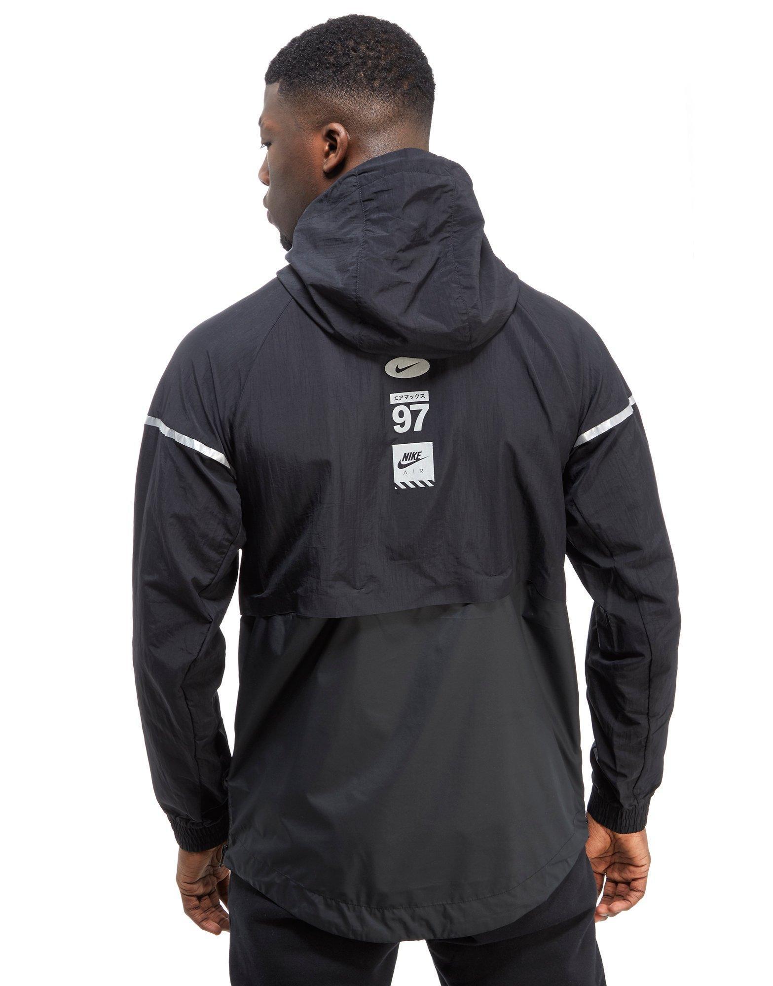 nike air hybrid 1 2 zip woven jacket in black for men lyst. Black Bedroom Furniture Sets. Home Design Ideas