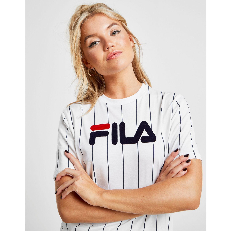 9beebb20c1c0 Fila Stripe Boyfriend T-shirt in Blue - Lyst