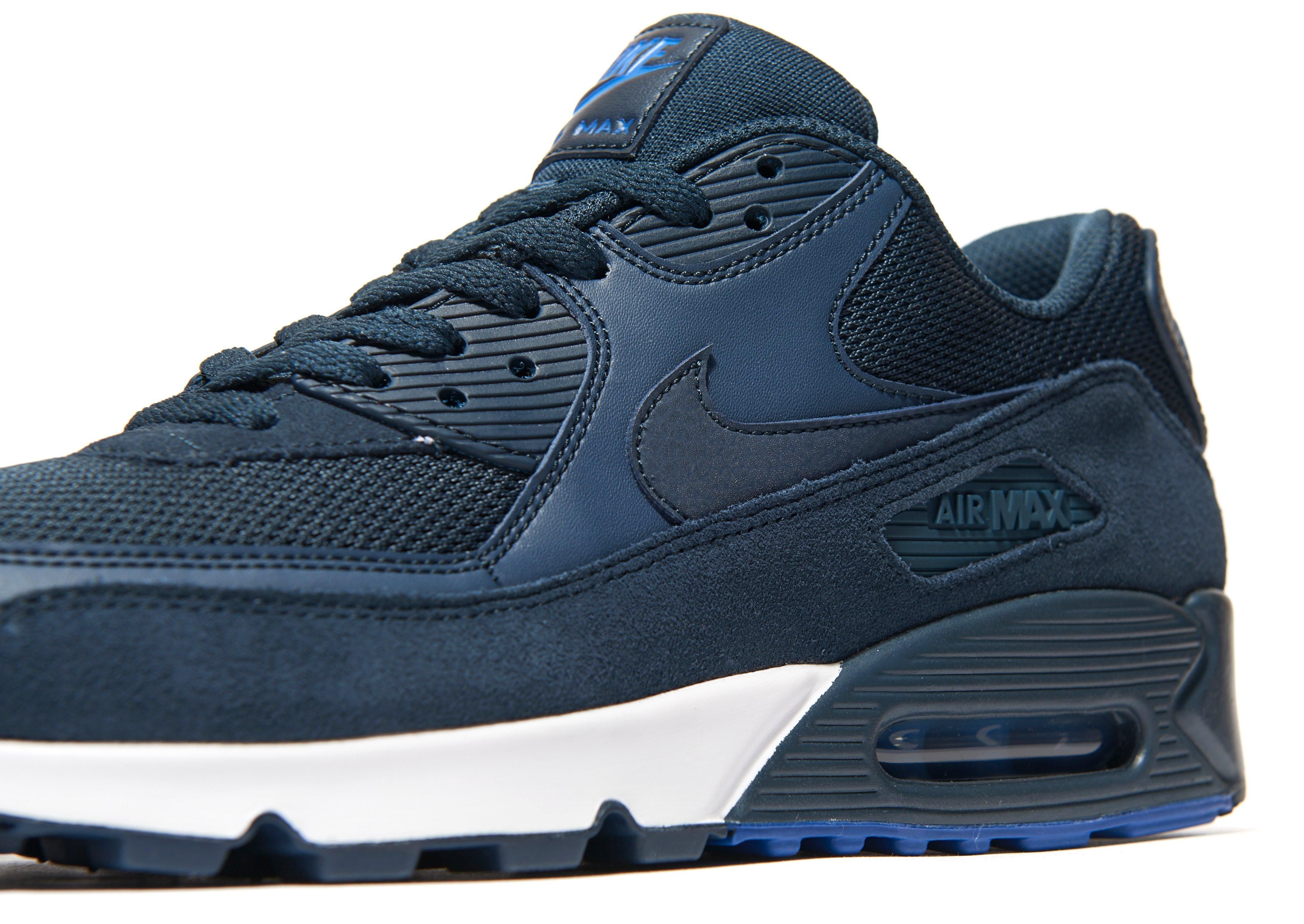 Nike Leather Air Max 90 Army Trainers in NavyBlue (Blue
