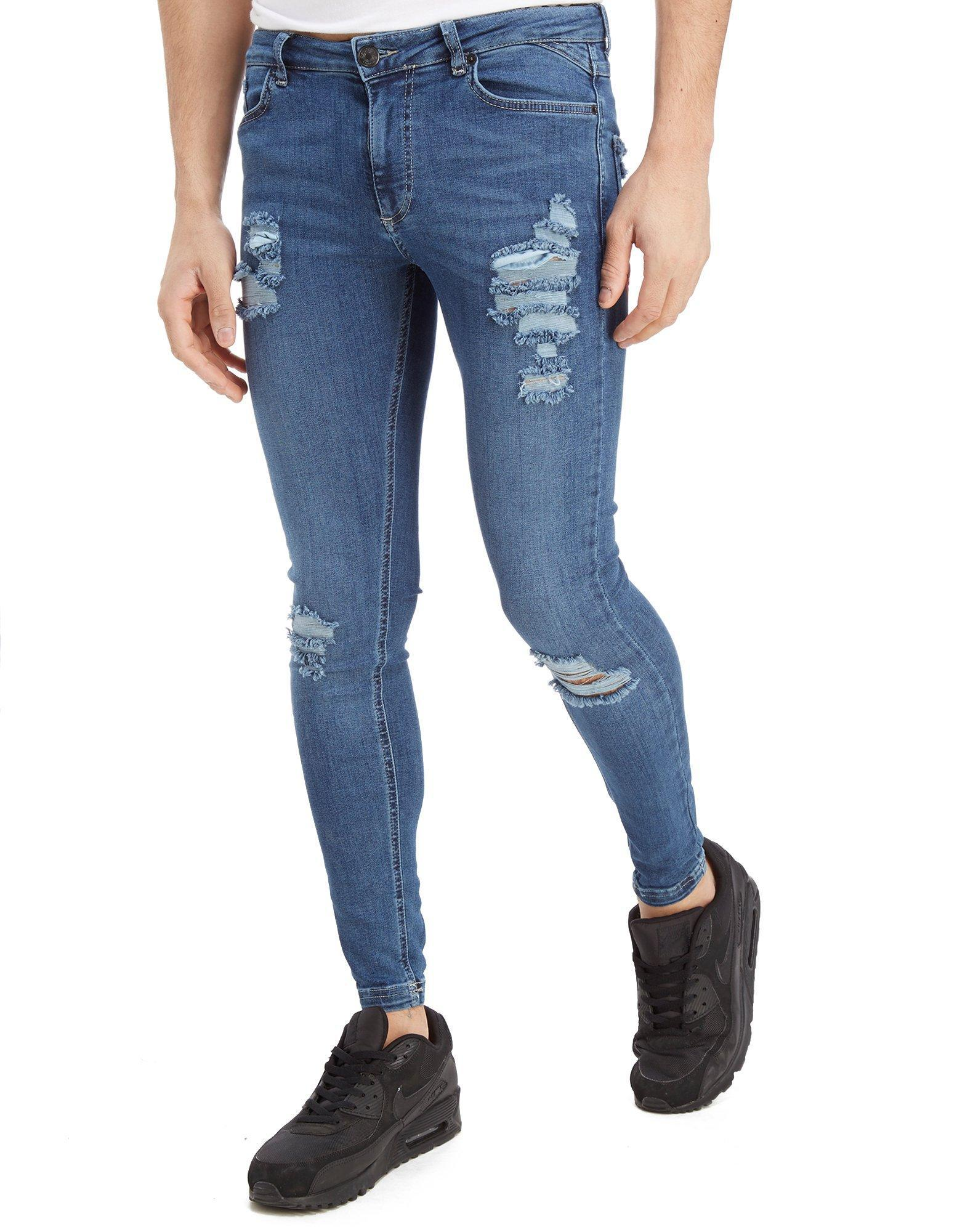 11 Degrees Ripped Denim Jeans in Blue for Men - Save 60.0% - Lyst 585946a60456