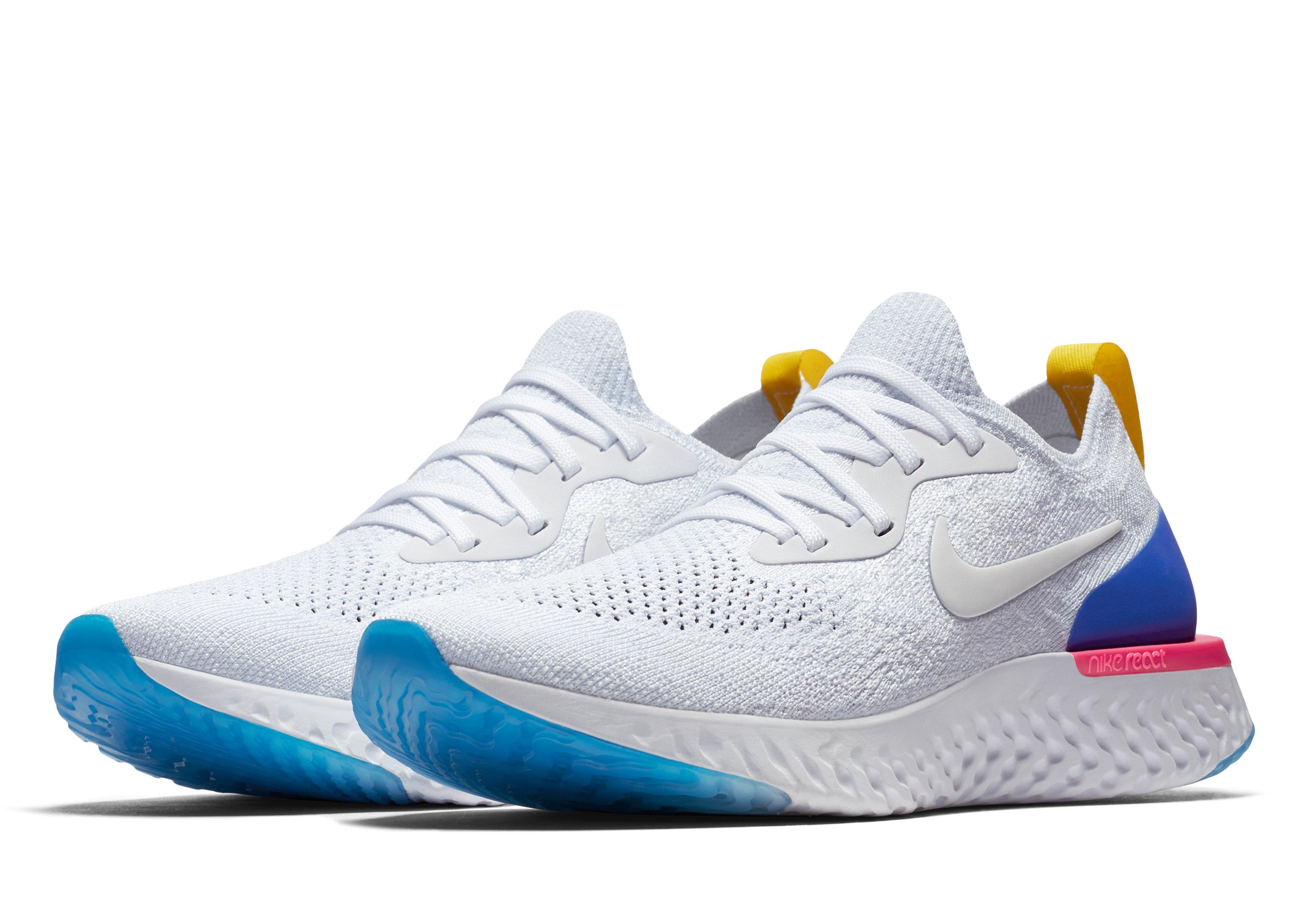 4b50e185d27e Nike Epic React Flyknit Running Shoes in Blue - Lyst