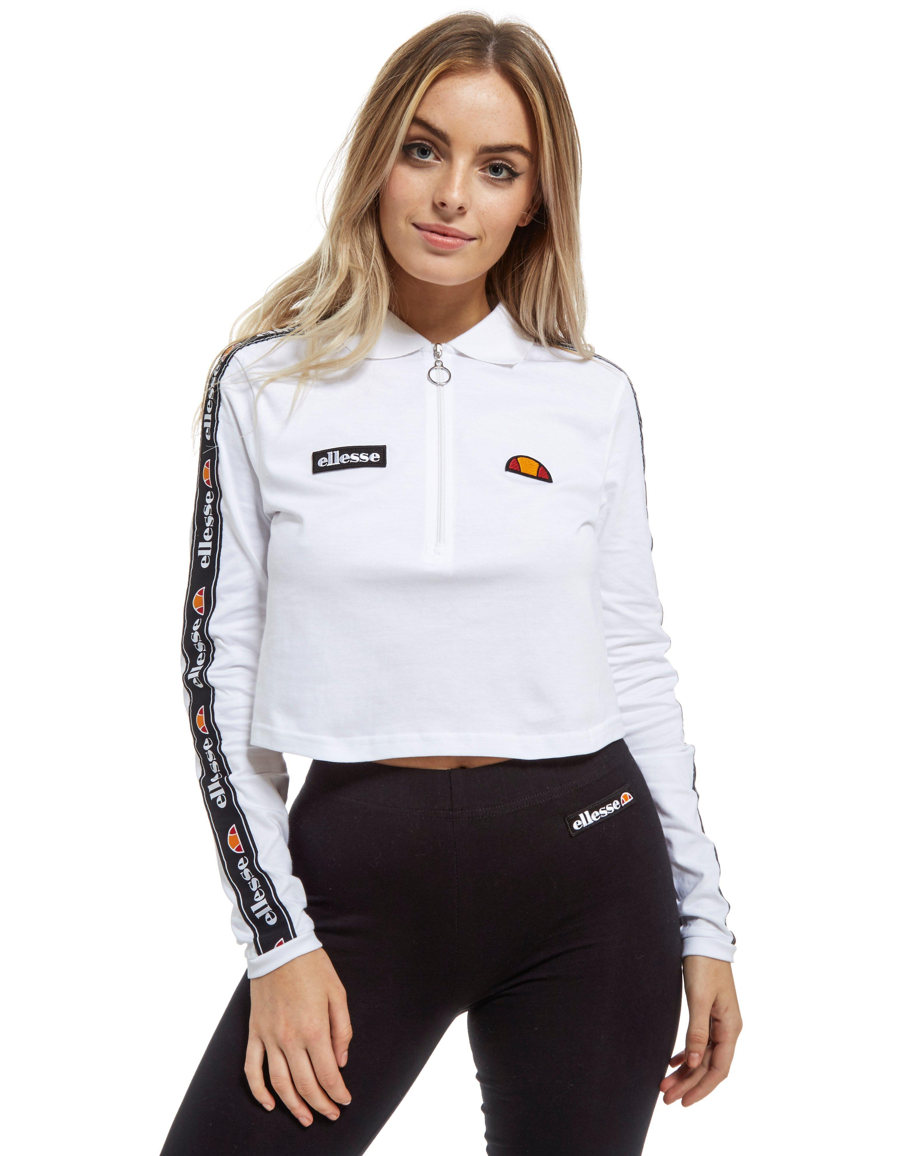lyst ellesse long sleeve crop polo top in white. Black Bedroom Furniture Sets. Home Design Ideas