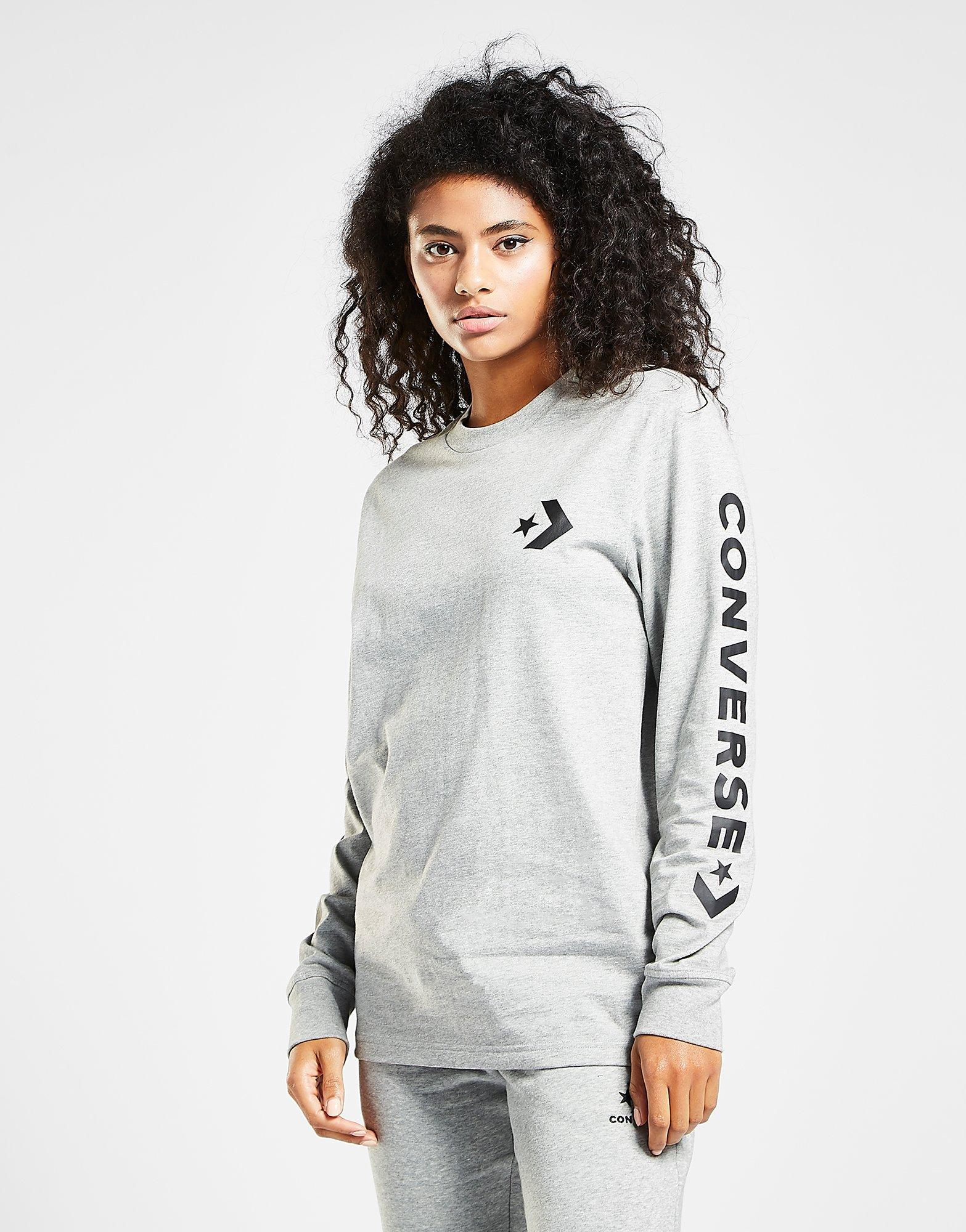 7af8f386e257 Converse Star Chevron Long Sleeve T-shirt in Gray - Lyst