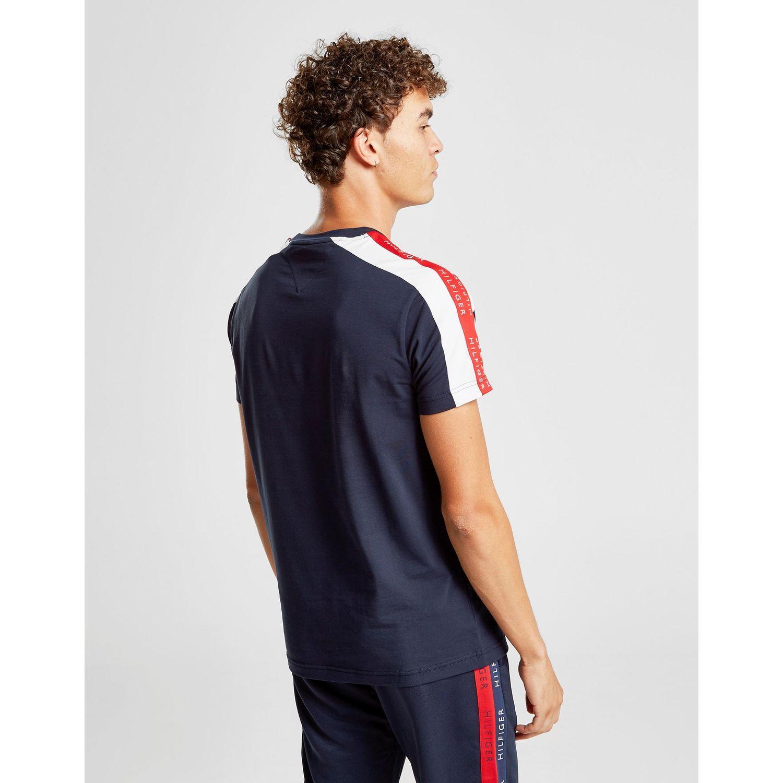 9acc619e5 Tommy Hilfiger - Blue Contrast Tape Short Sleeve T-shirt for Men - Lyst.  View fullscreen