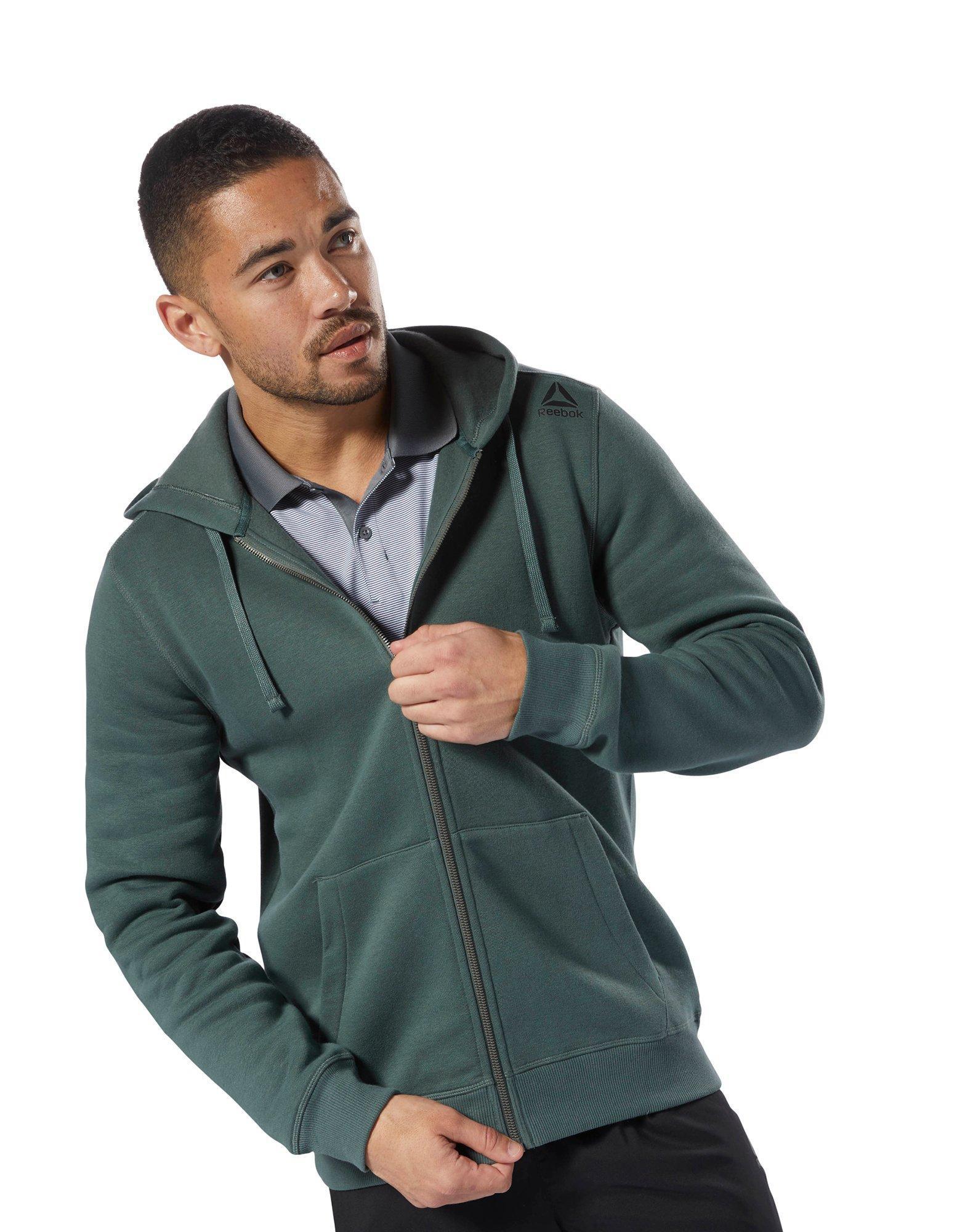 7c8e9066f3 Reebok Elements Fleece Full Zip Hoodie in Green for Men - Lyst
