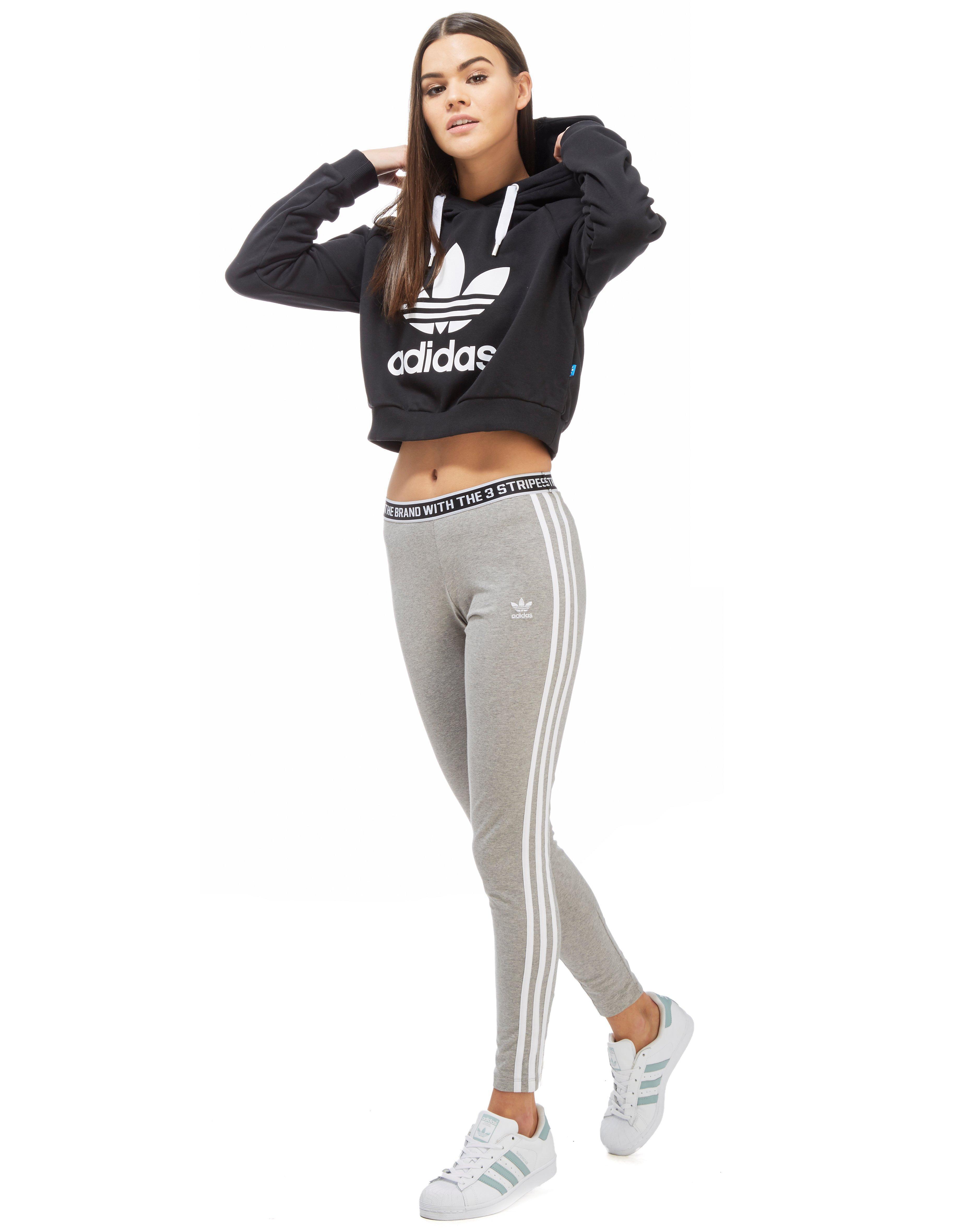 0f5ba2acc4534f Lyst - adidas Originals Trefoil Crop Hoody in Black