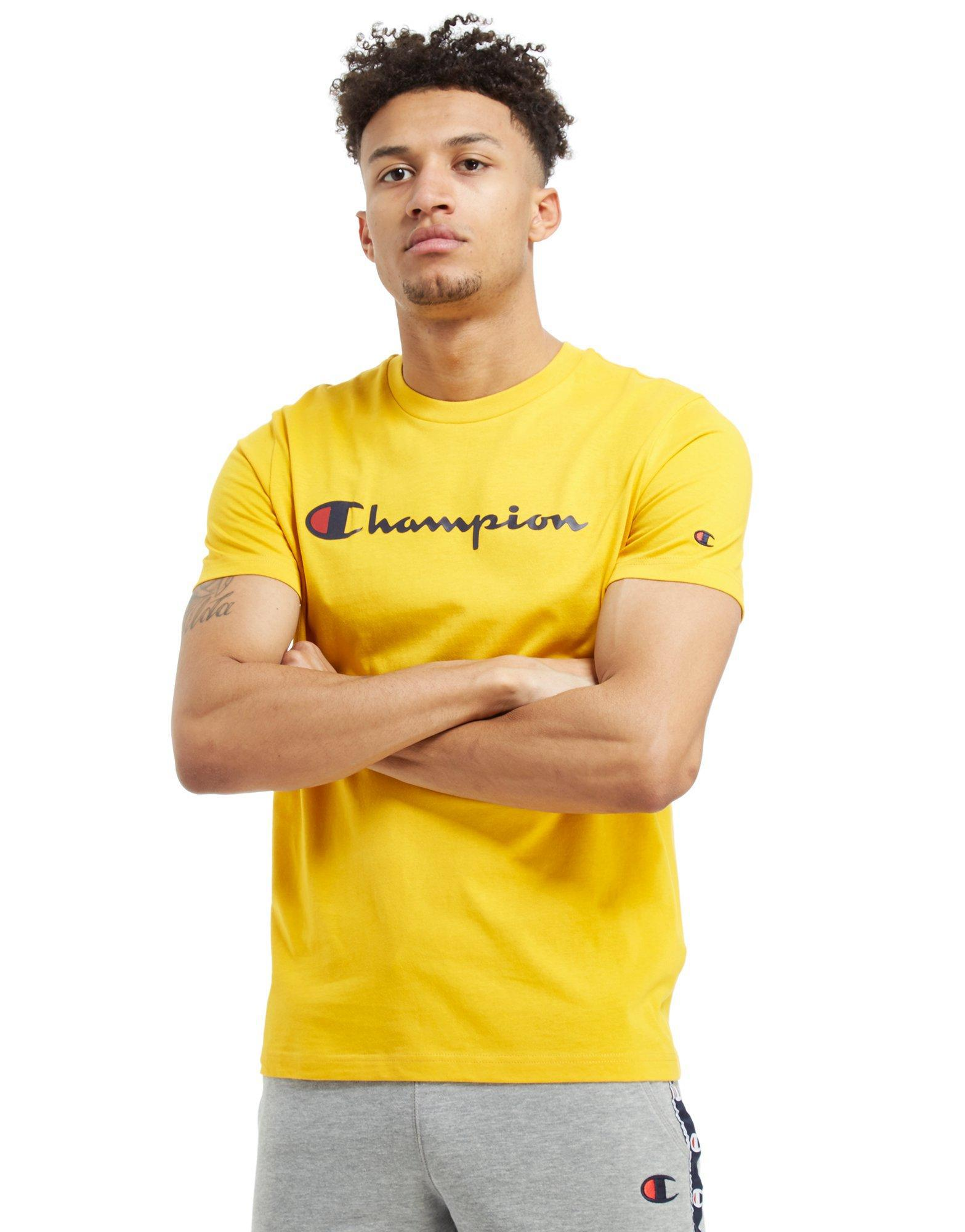 Lyst - Champion Core Script T-shirt in Yellow for Men f2a23a31be49
