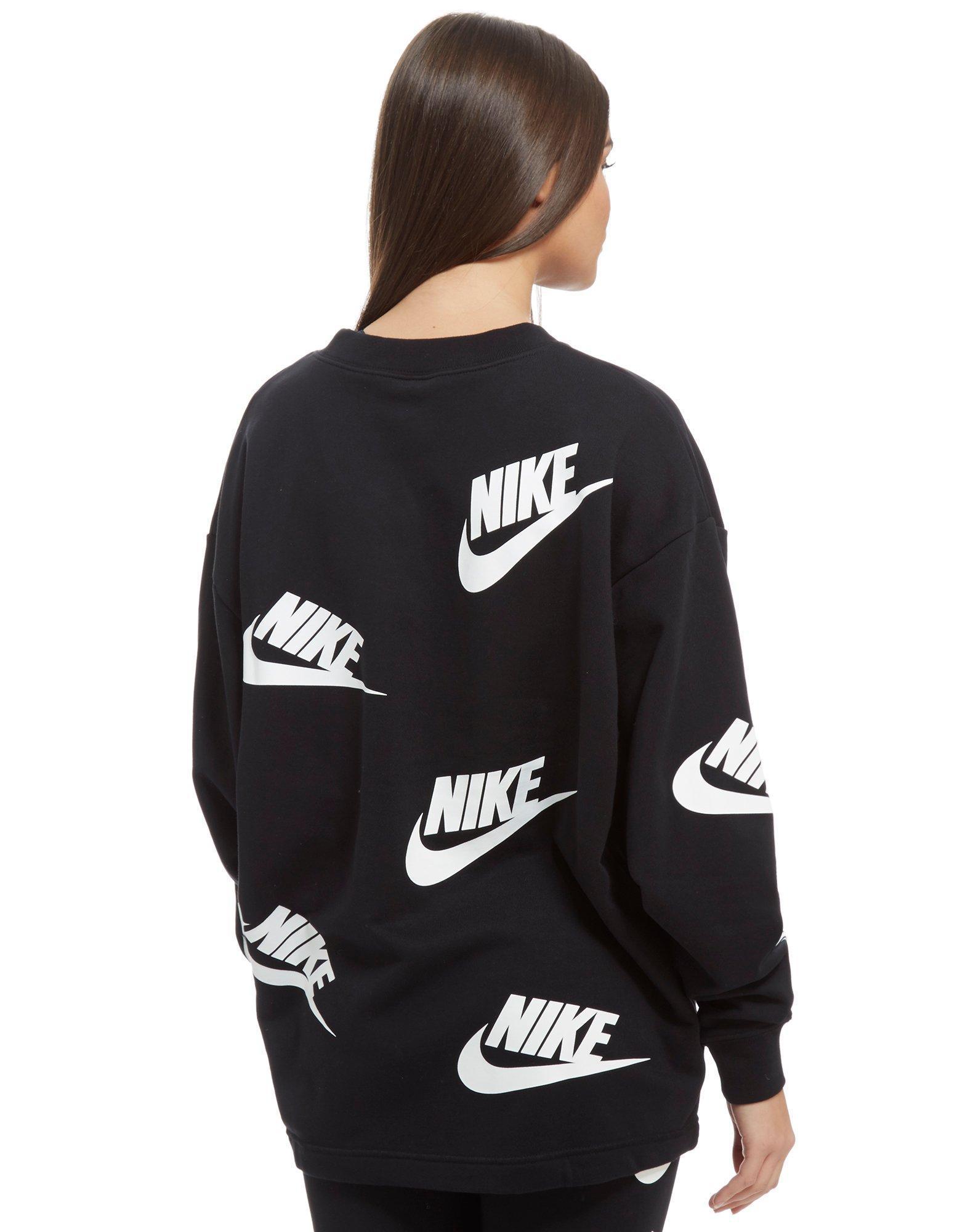 Lyst In Sweatshirt Print Crew Futura Black Nike All Over rC0xwqraB