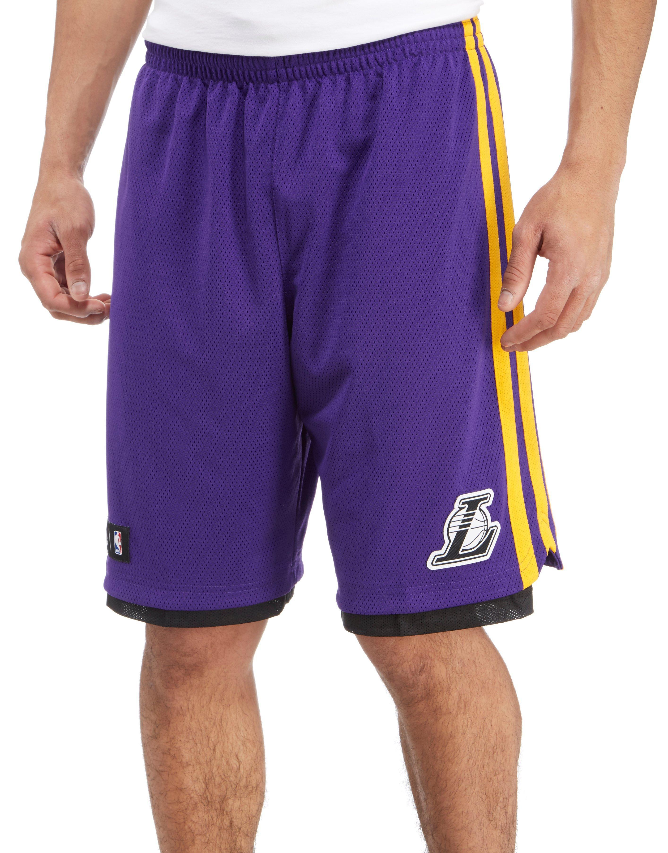 Lyst - adidas Hoops Los Angeles Lakers Shorts in Purple for Men 32c61d1c2