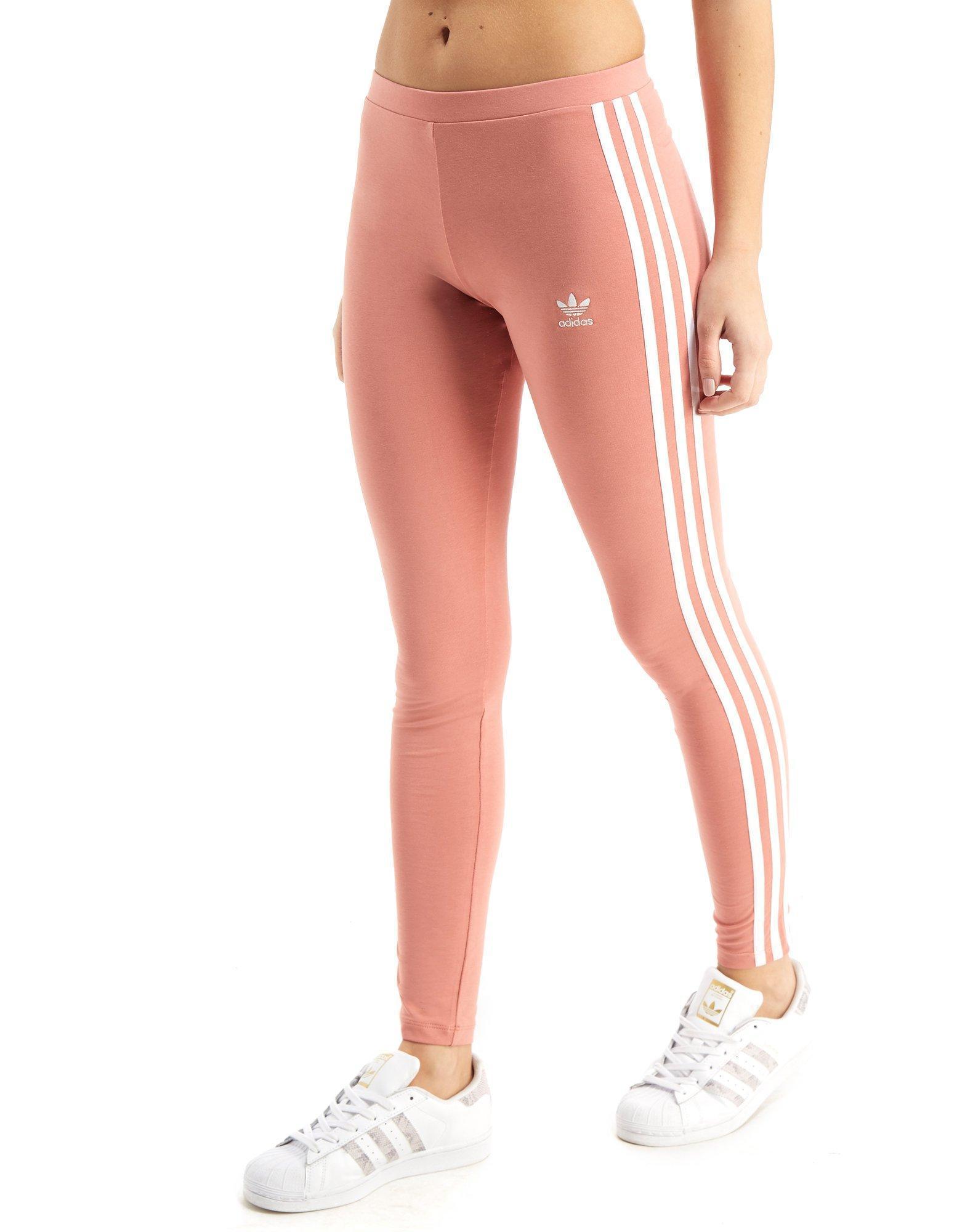 5104171bfdfa9 adidas 3-stripes Leggings in Pink - Lyst
