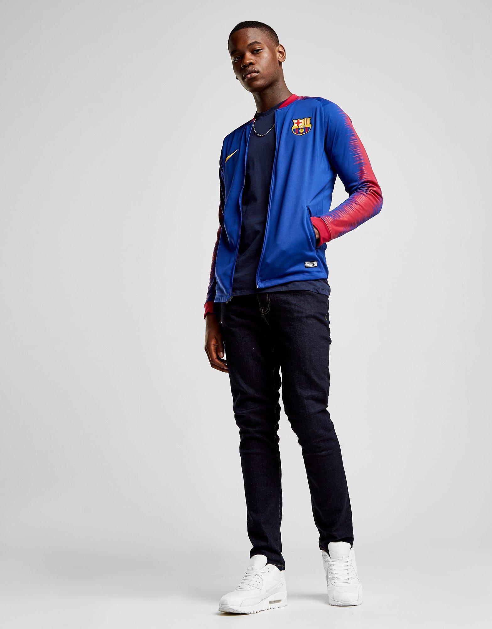 250192869 Nike Fc Barcelona Anthem Jacket in Blue for Men - Lyst