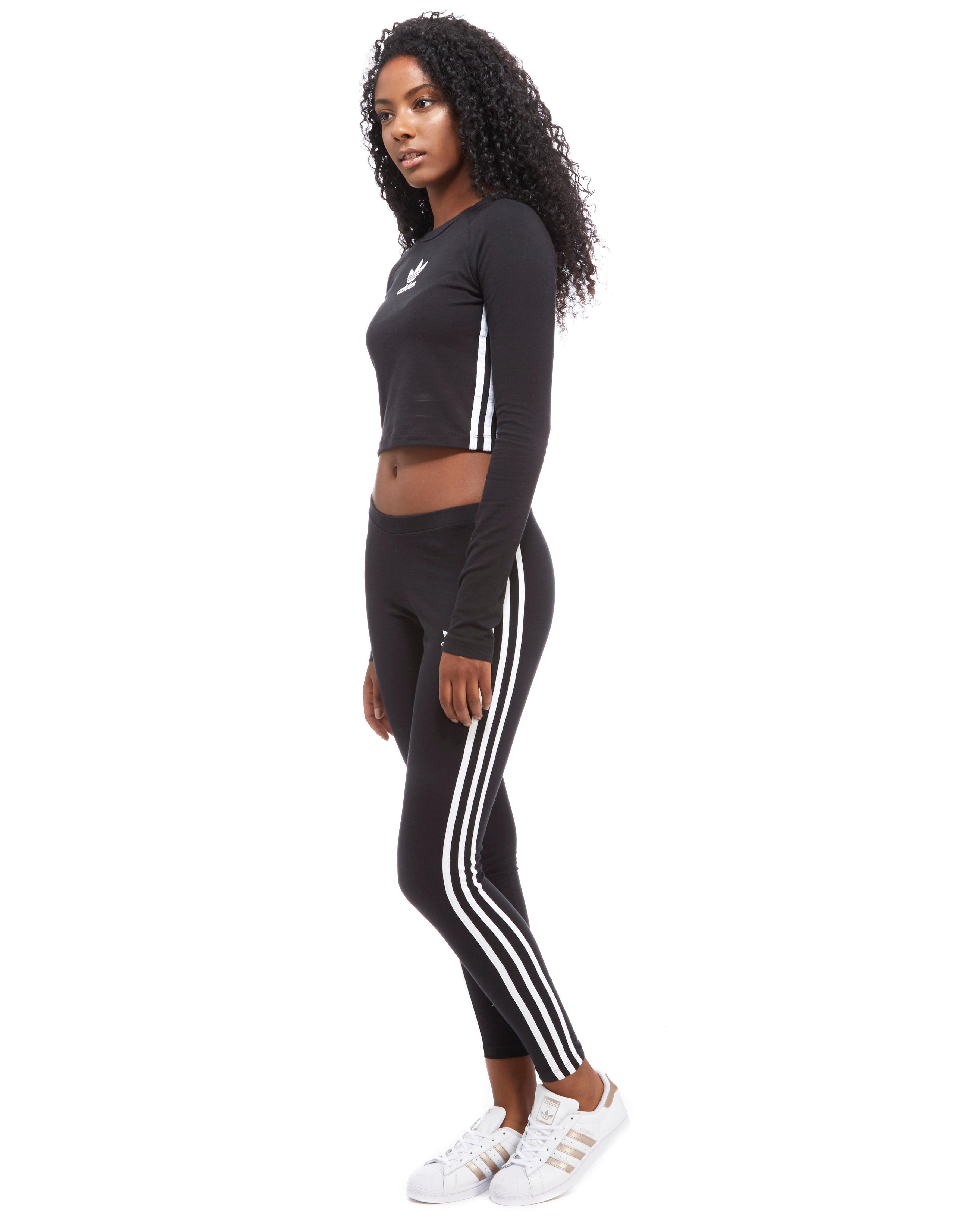 42d5e6d857a Lyst - adidas Originals 3-stripes Long Sleeve Crop in Black