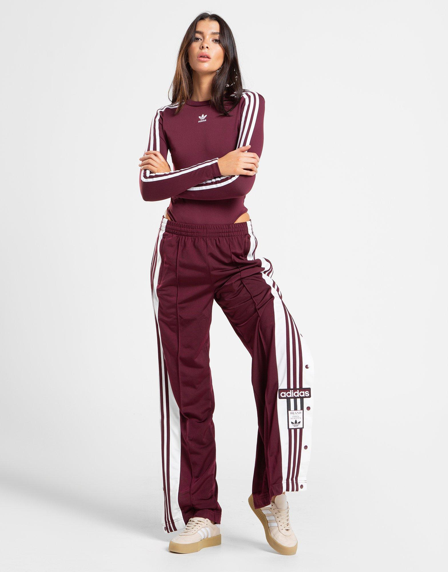 fd77e9002aaac Lyst - adidas Originals 3-stripes Long Sleeve Bodysuit in Red