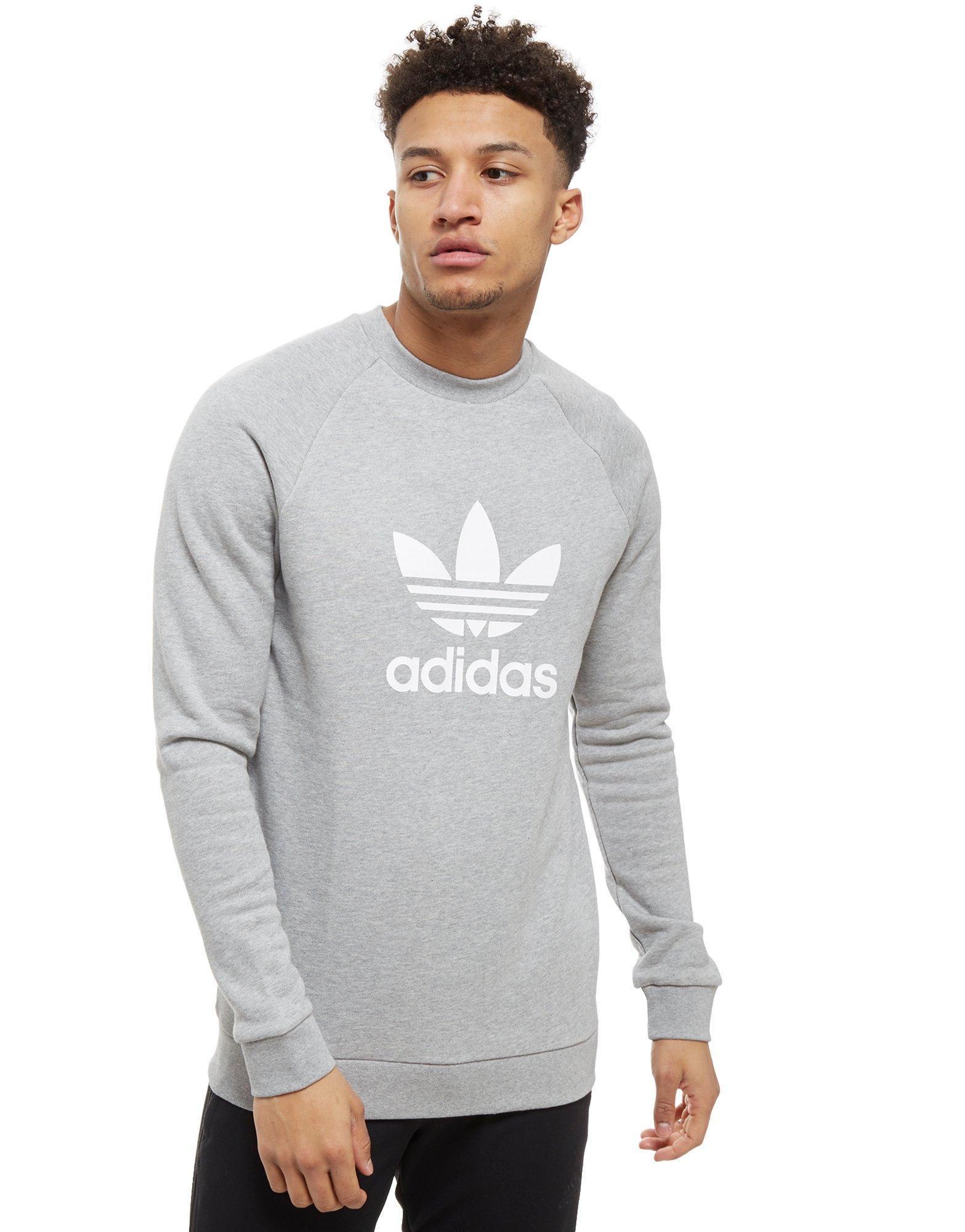 adidas Originals. Men's Gray Trefoil Crew Sweatshirt
