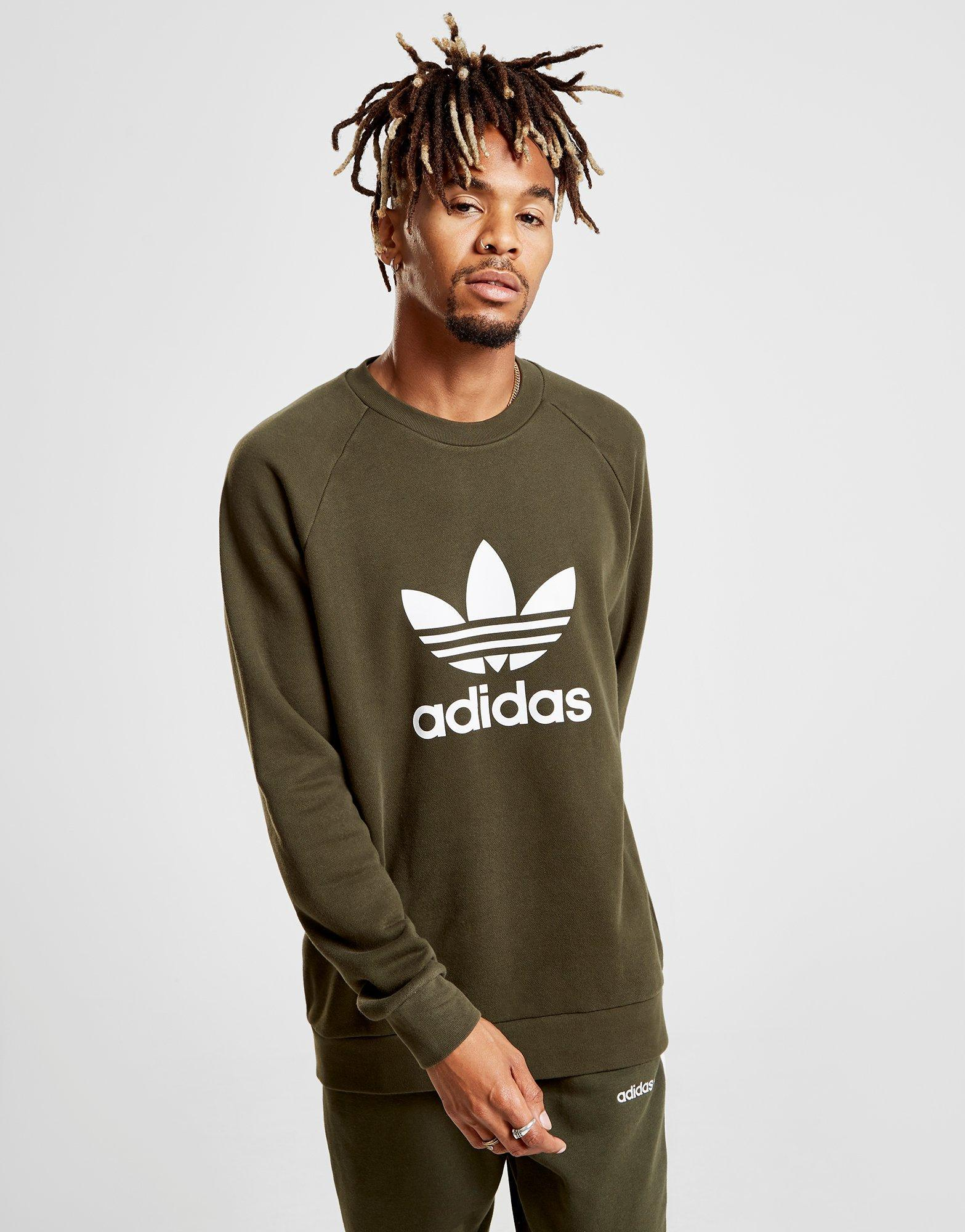 eaac23f3e9e7 Lyst - Adidas Originals Trefoil Crew Sweatshirt in Natural for Men