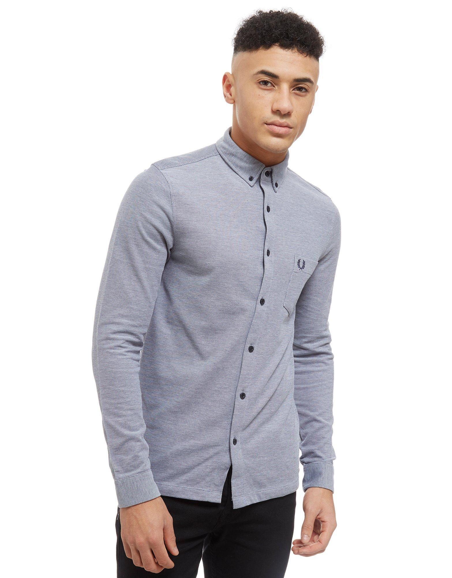 b556fbe5 Fred Perry Oxford Pique Long Sleeve Shirt in Blue for Men - Lyst