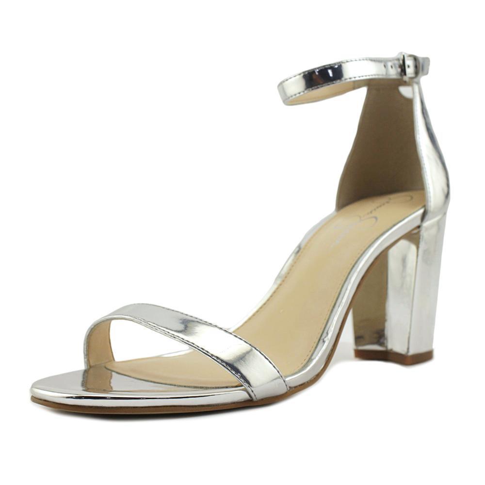 ae55256bbd8 Lyst - Jessica Simpson Monrae Women Open-toe Synthetic Silver Heels ...