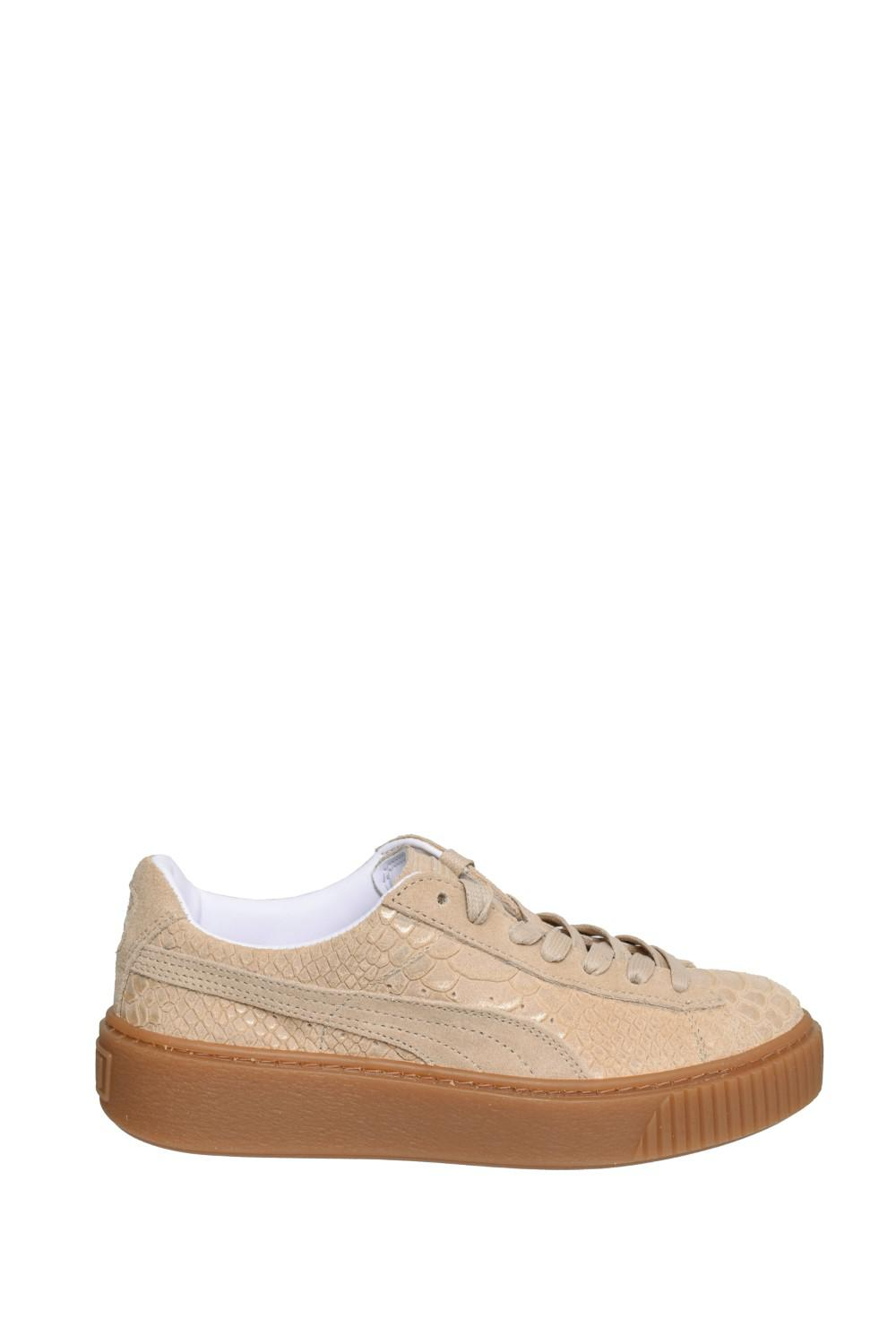 f1c900e22da Lyst - PUMA Basket Platform Exotic Skin Low Top Sneaker- Natural ...