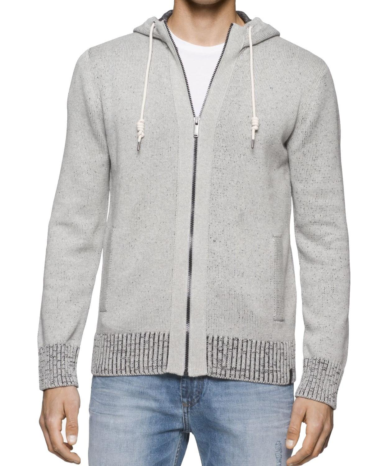 Calvin klein jeans Gray Mens Size Large L Full-zip Hooded Sweater ...