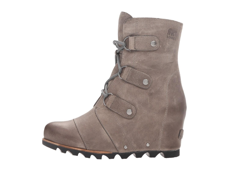 13de6fe4759c Lyst - Sorel Joan Of Arctic Dark Fog Grey Leather Wedge Heel Mid ...