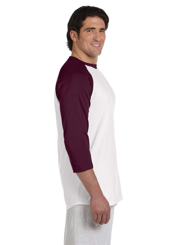 7ffc7a69 Lyst - Champion T1397 5.2 Oz. Raglan T-shirt White/ Maroon 2xl in ...