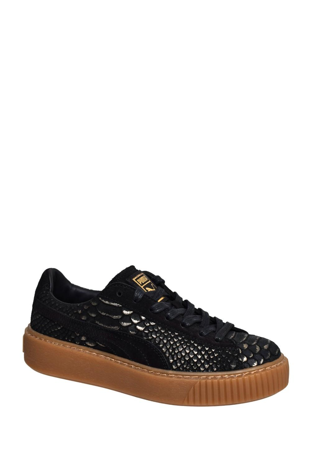 PUMA Skin Black Low Exotic Sneaker Platform Lyst Basket Top SpqMUVzG