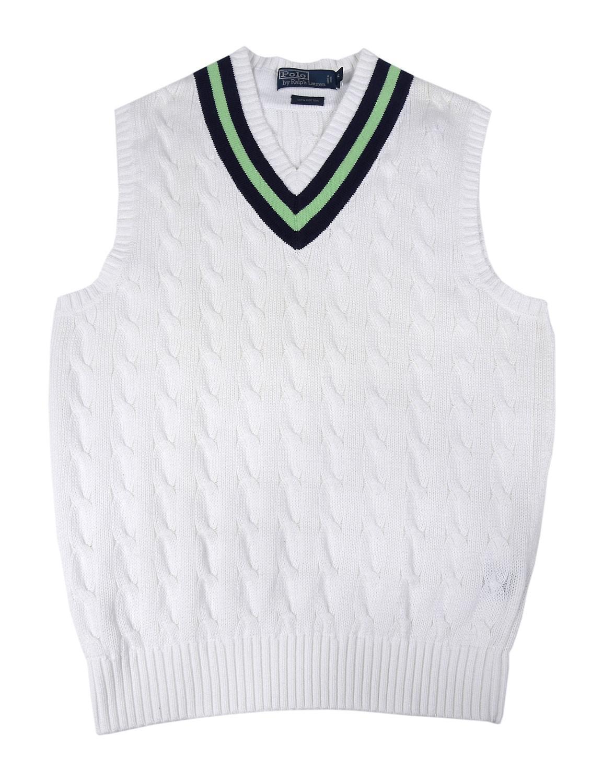 Polo ralph lauren Cotton Varsity Cable-knit V-neck Sweater Vest ...