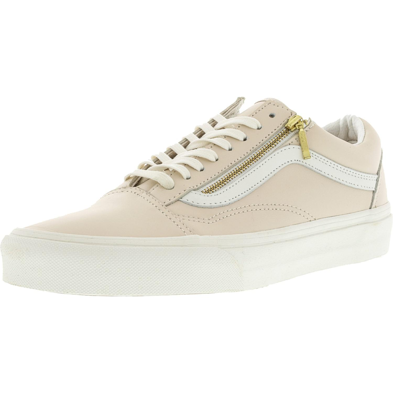 bba1527dcbe598 Lyst - Vans Old Skool Zip Leather Whispering Pink   Blanc De Ankle ...