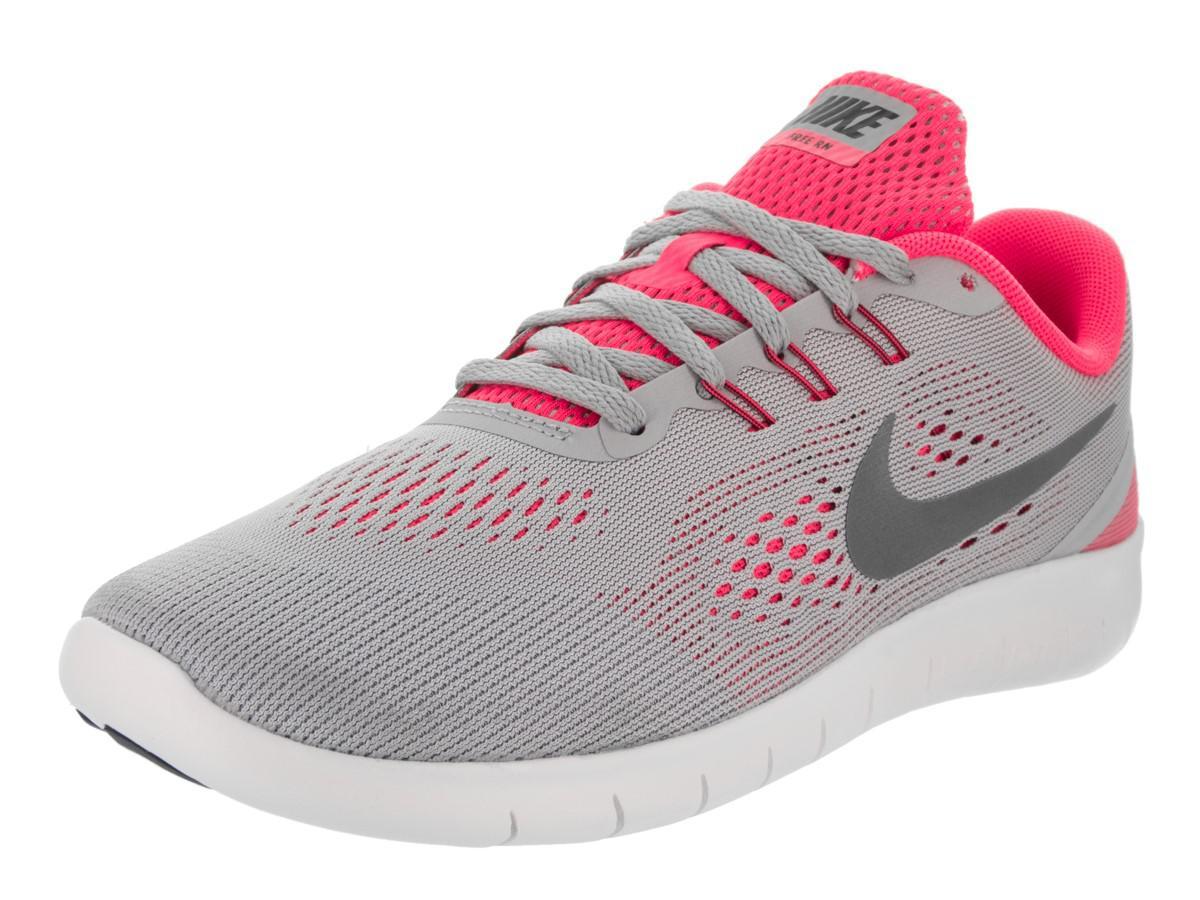 Nike Kids Free RN (GS) Wolf Grey/Metallic Silver Running Shoe 6.5 Kids US JtUWUrWLx3