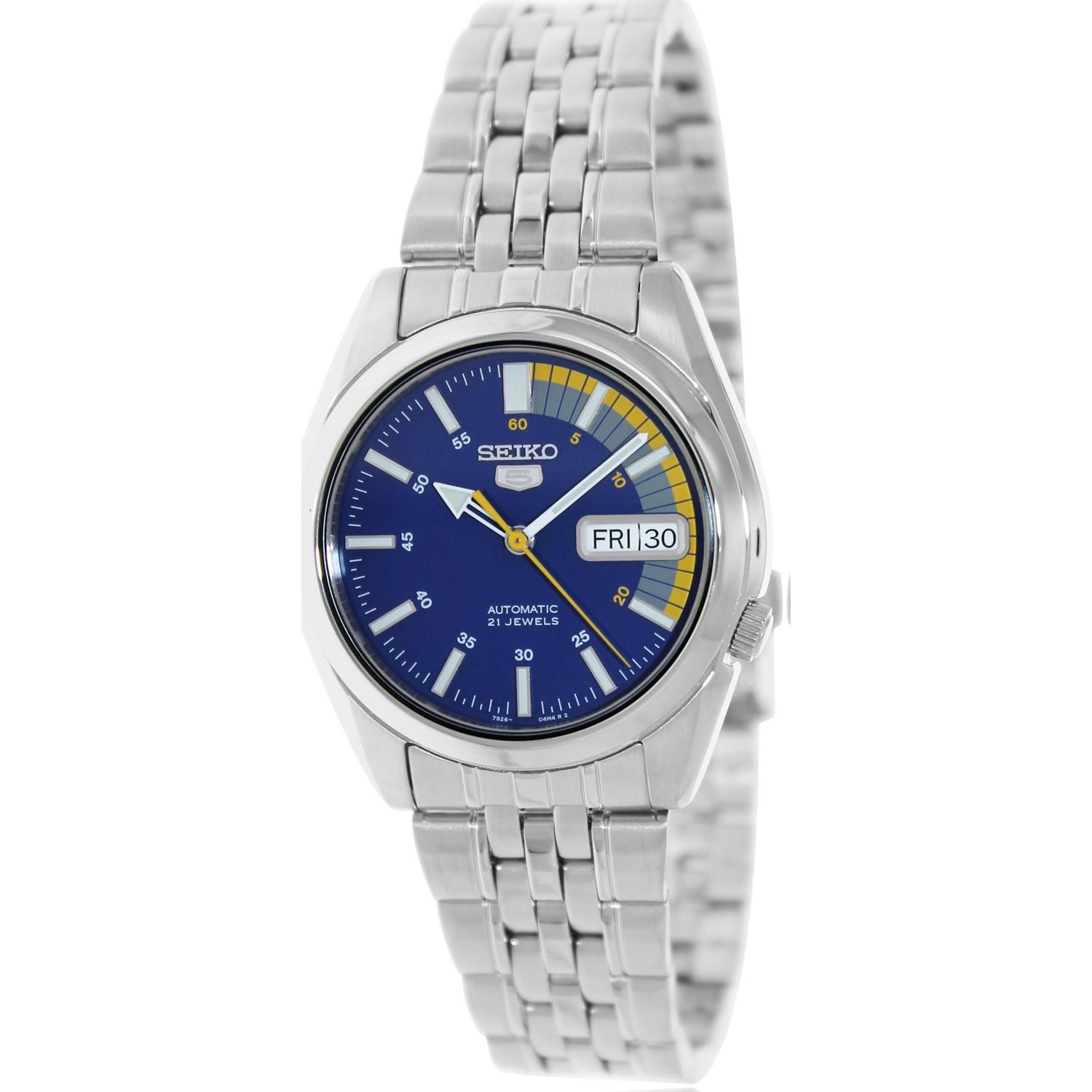 Seiko 5 Automatic Snk371k Silver Stainless Steel Watch In Fossil Jr1515 Featured