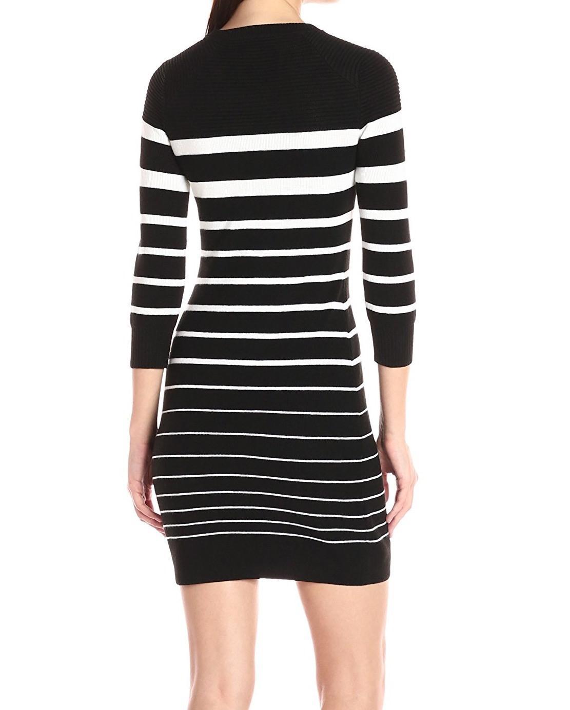 Lyst - Calvin Klein Petite Button-trim Striped Sweater Dress in Black c9025d8ec