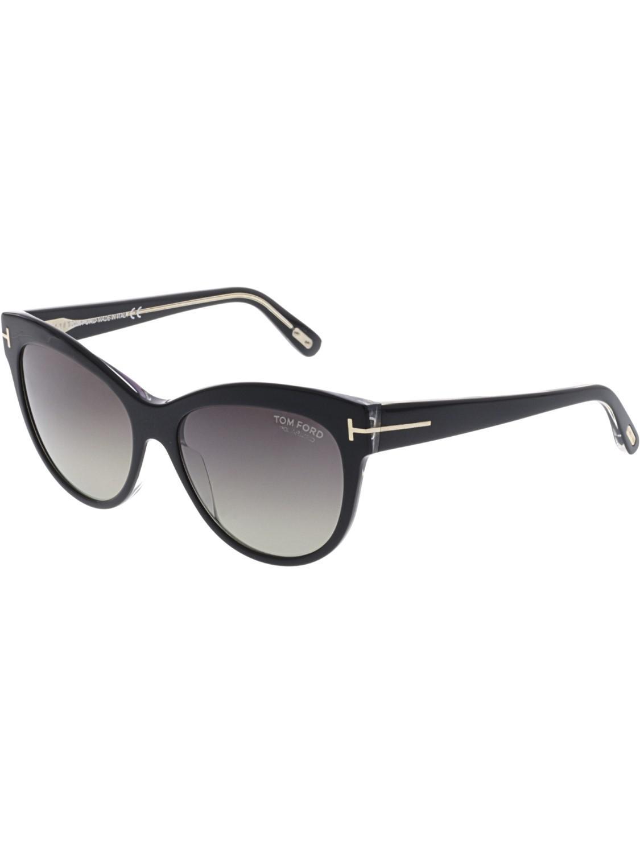 7d98bb9d3e Tom Ford - Black Polarized Lily Ft0430-05d-56 Cat Eye Sunglasses - Lyst.  View fullscreen