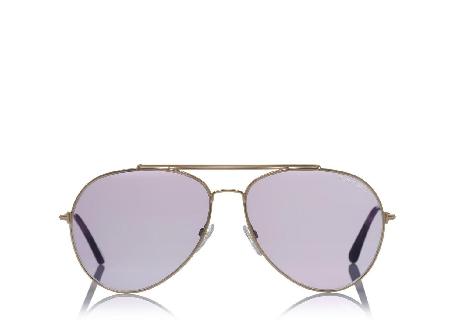 8a8f4c95a7 Lyst - Tom Ford Indiana Tf 497 28z Rose Goldtone Sunglasses Aviator ...