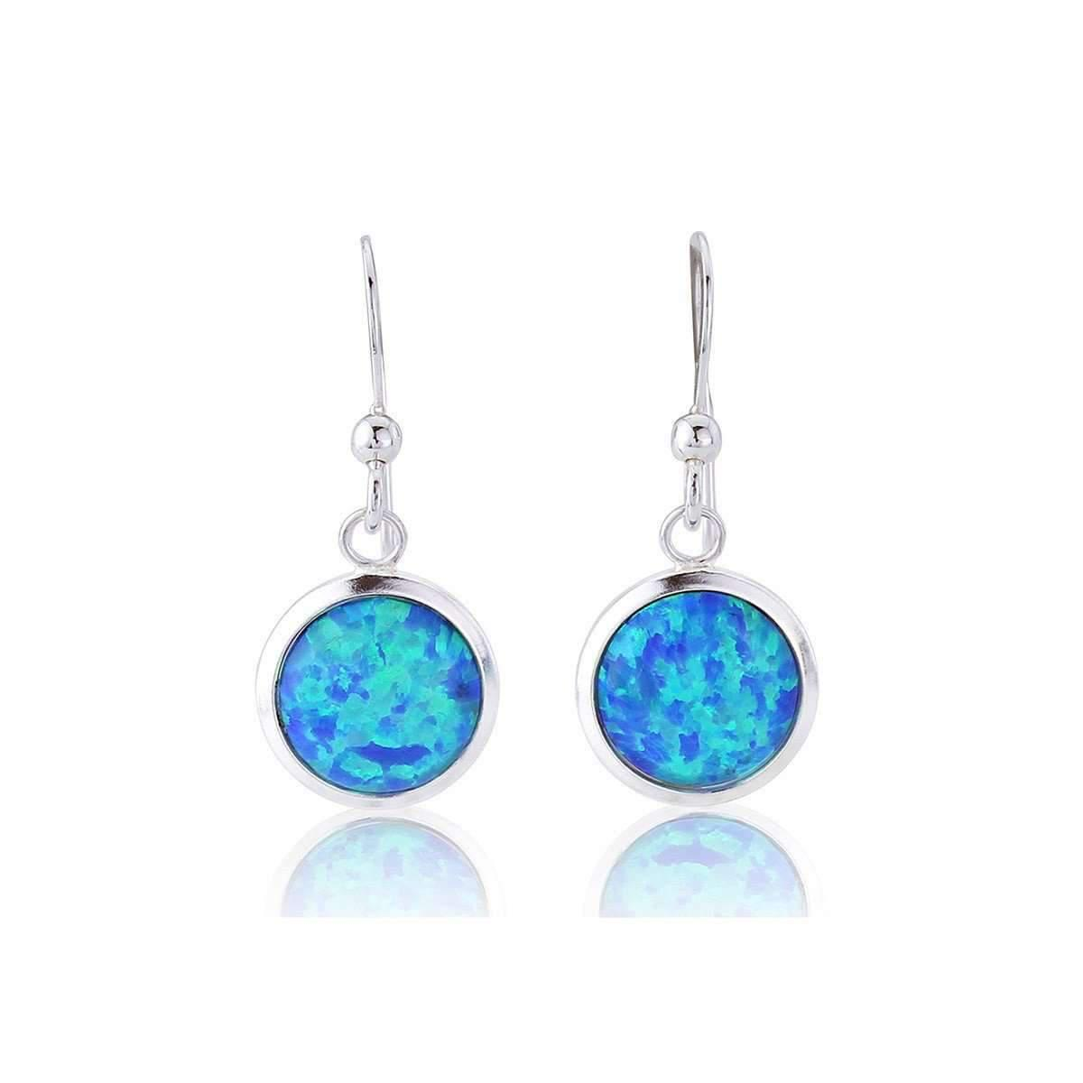 Lavan Dark Blue Opal Silver Drop Earrings ETwSq6