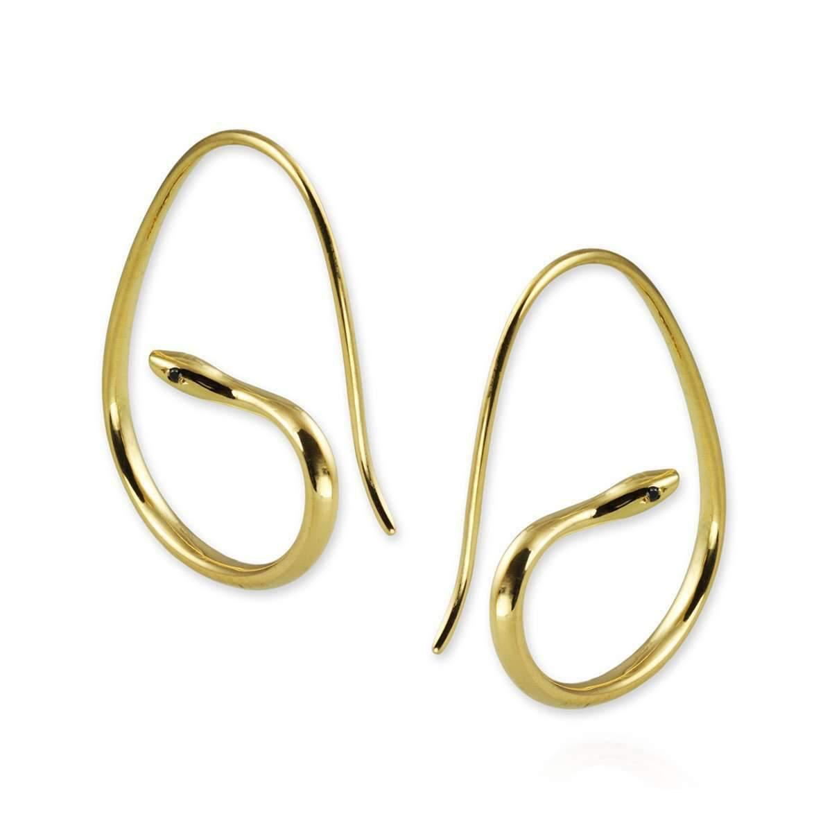 Jana Reinhardt Gold Plated Silver Snake Hoop Earrings With Black Diamonds cjMmdta