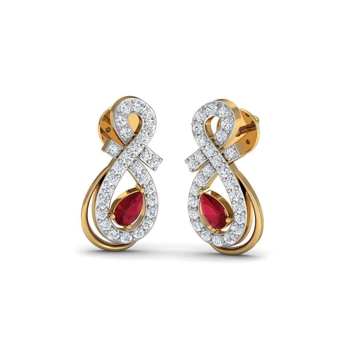 Diamoire Jewels Butterfly Diamond Earrings in 18kt Yellow Gold WWCuD