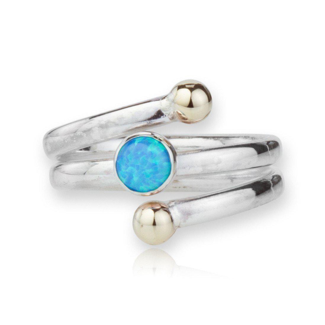 Lavan Sterling Silver Opal Daisy Ring - UK K 1/2 - US 5 3/8 - EU 50 3/4 cpnPdOSk