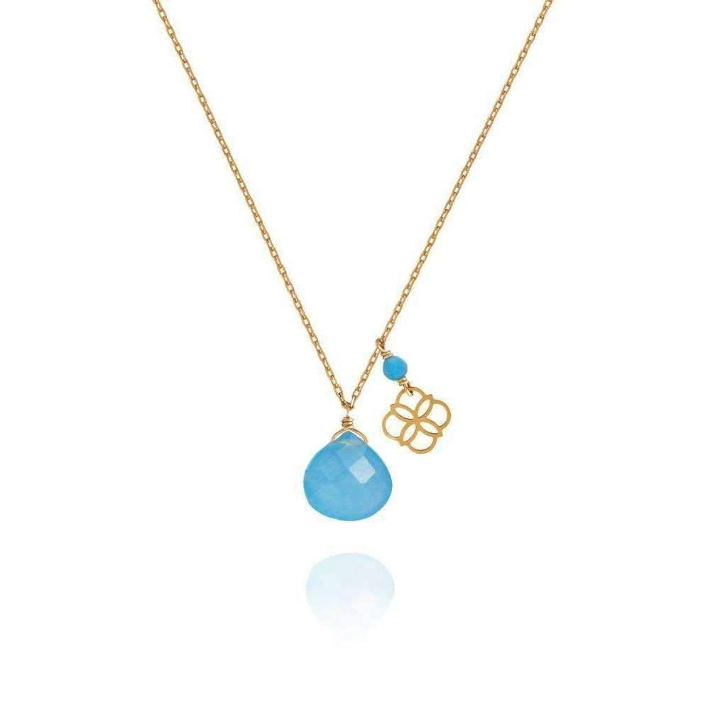 Perle de lune Blue Jade Drop And Daisy Pendant 18kt Gold WxEbqbZ8ID