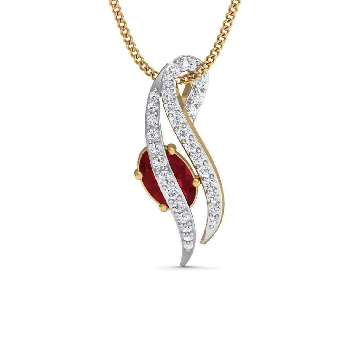 Diamoire Jewels Pave Set Diamond and Pear Cut Ruby Pendant in 18kt Yellow Gold TSpOL2I5Fr