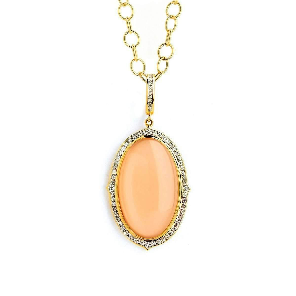 Syna 18kt Moon Quartz and Diamond Pendant With Chain