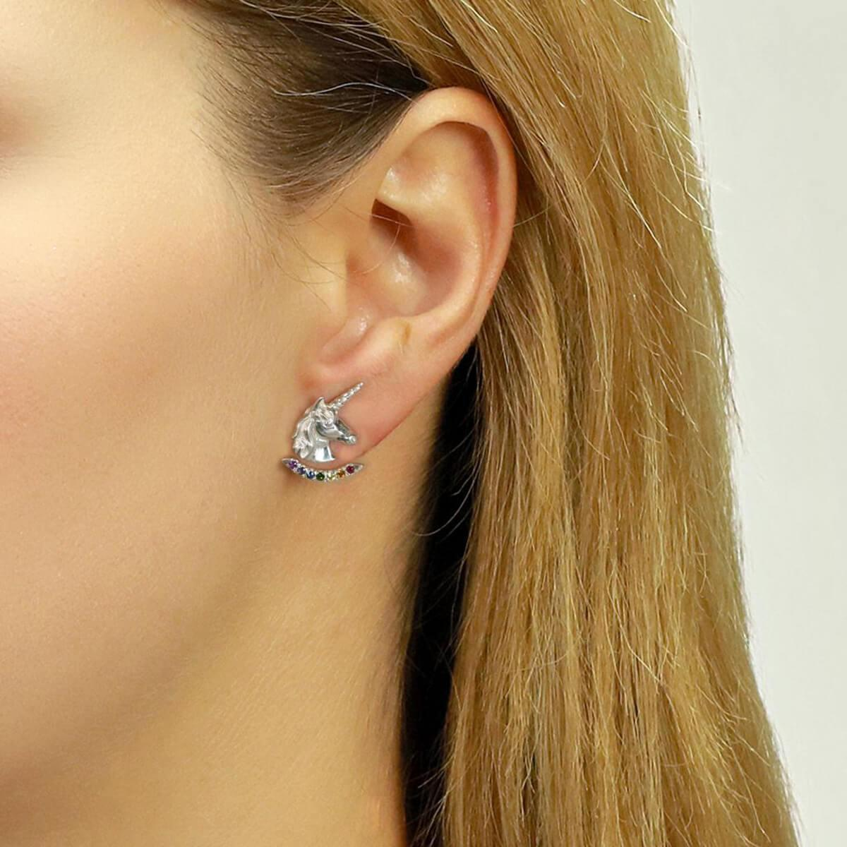 Jana Reinhardt Yellow Gold Plated Unicorn Earrings With Rainbow Ear Jackets Gold Plating ZAXlVZS