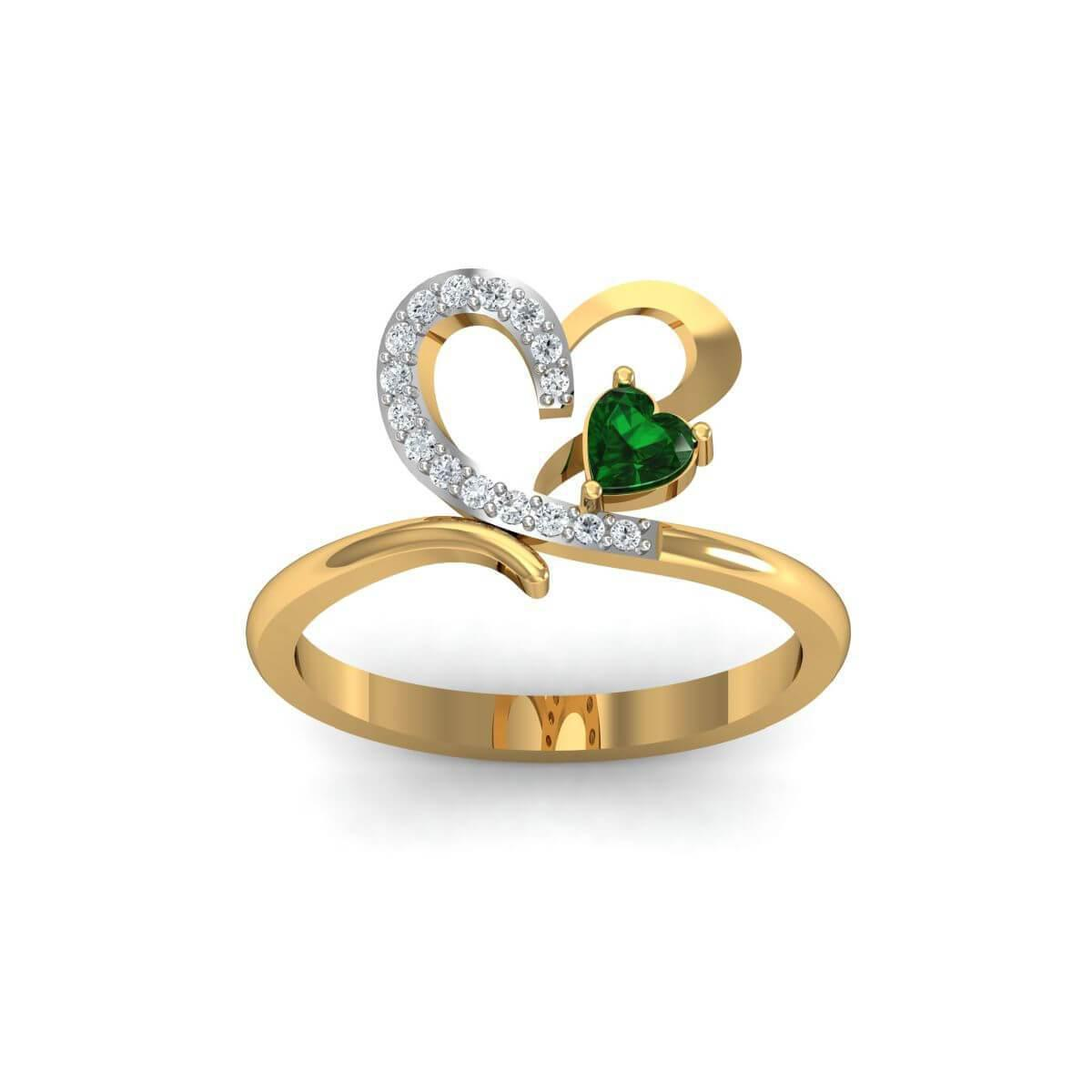 Diamoire Jewels 18kt Yellow Gold Pave 0.04ct Diamond Infinity Ring With Emerald - UK G 1/4 - US 3 1/2 - EU 45 3/4 LCzmZIfJ