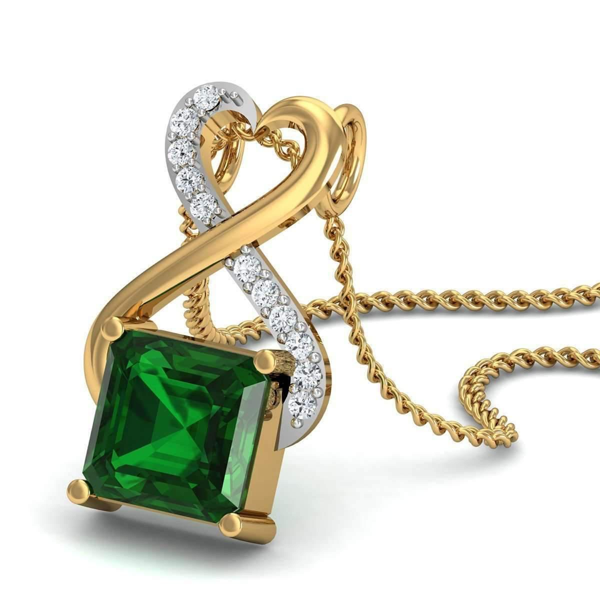 Diamoire Jewels Emerald Cut Nature Inspired Brazilian Emerald and Diamond Earrings in 14kt Yellow Gold 5x6fen