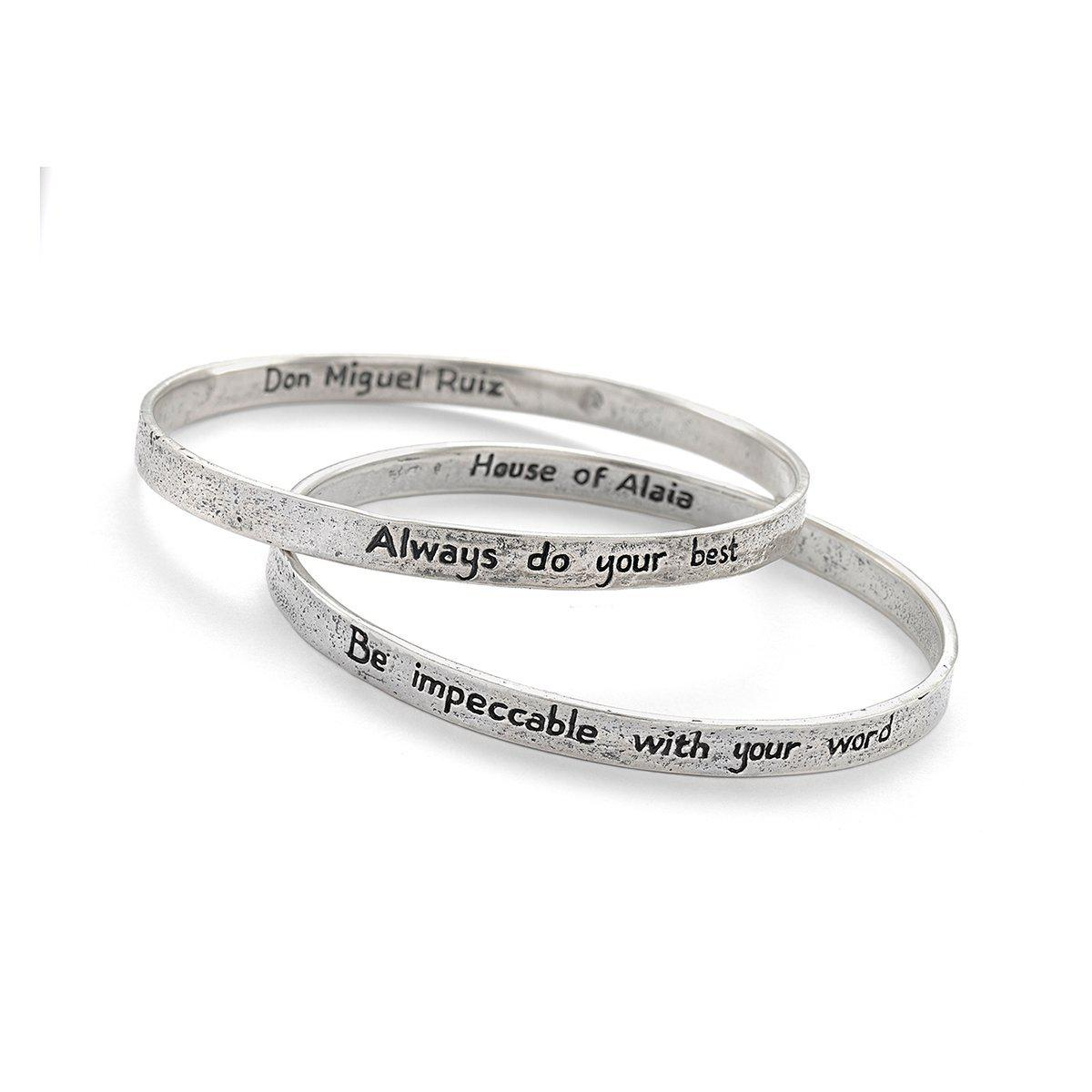 House of Alaia Four Agreements Reminder Bangle Set In Silver Small PUAN6V09R