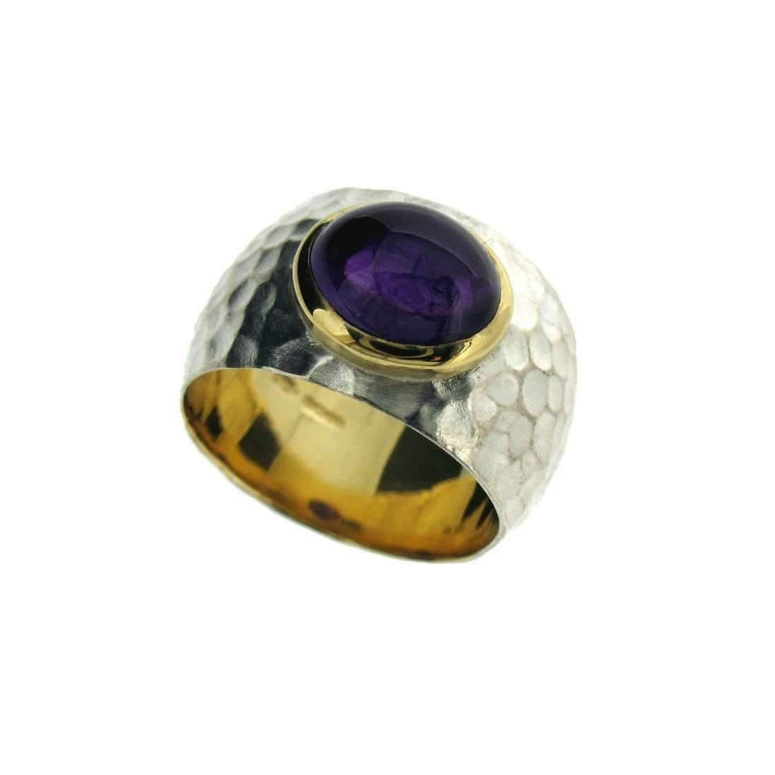 Will Bishop Gold Vermeil, Amethyst & Cubic Zirconia Three Band Ring - UK G - US 3 3/8 - EU 45 1/4