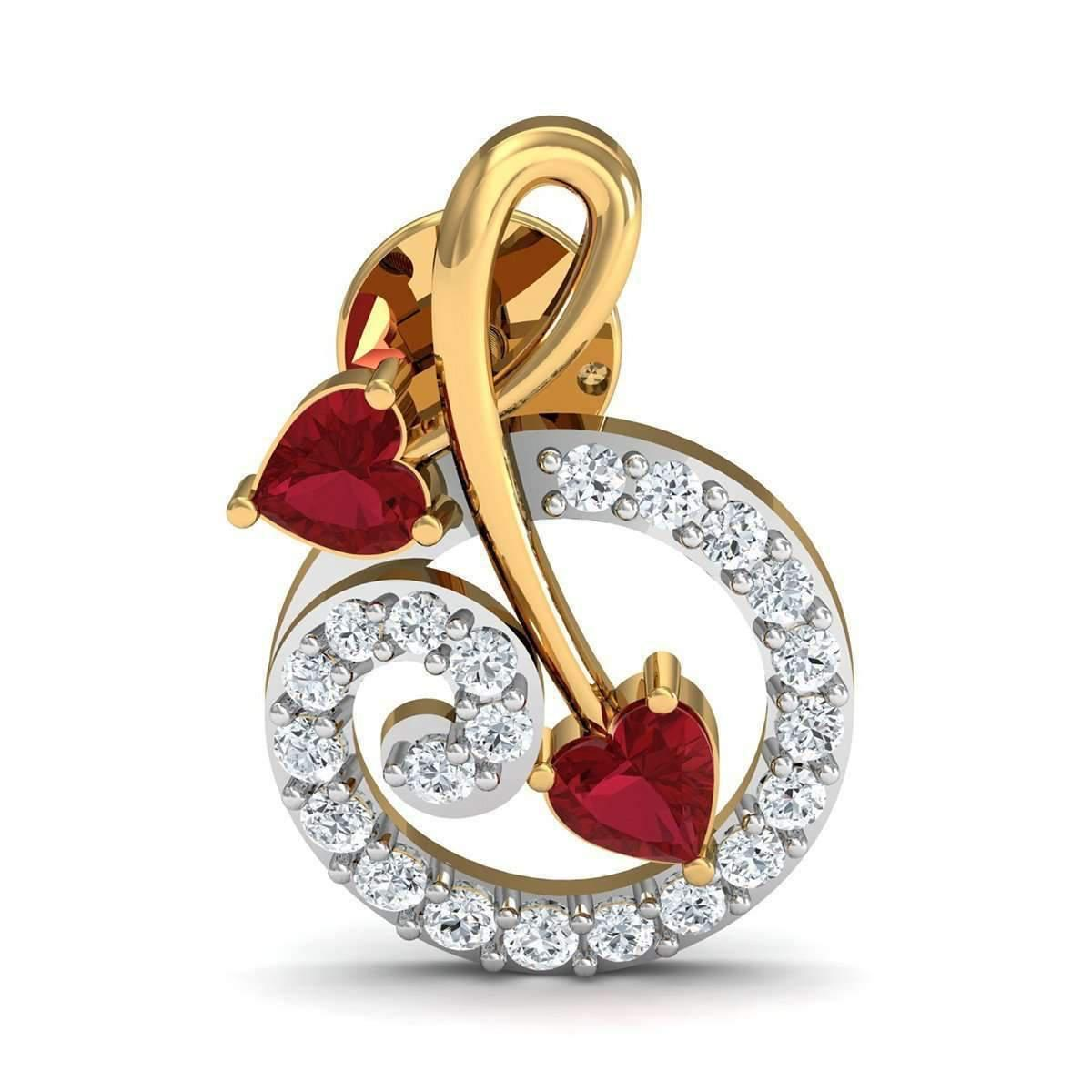 Diamoire Jewels Heart Shaped Ruby and Diamonds Pave 14kt Yellow Gold Earrings OxtM7sA