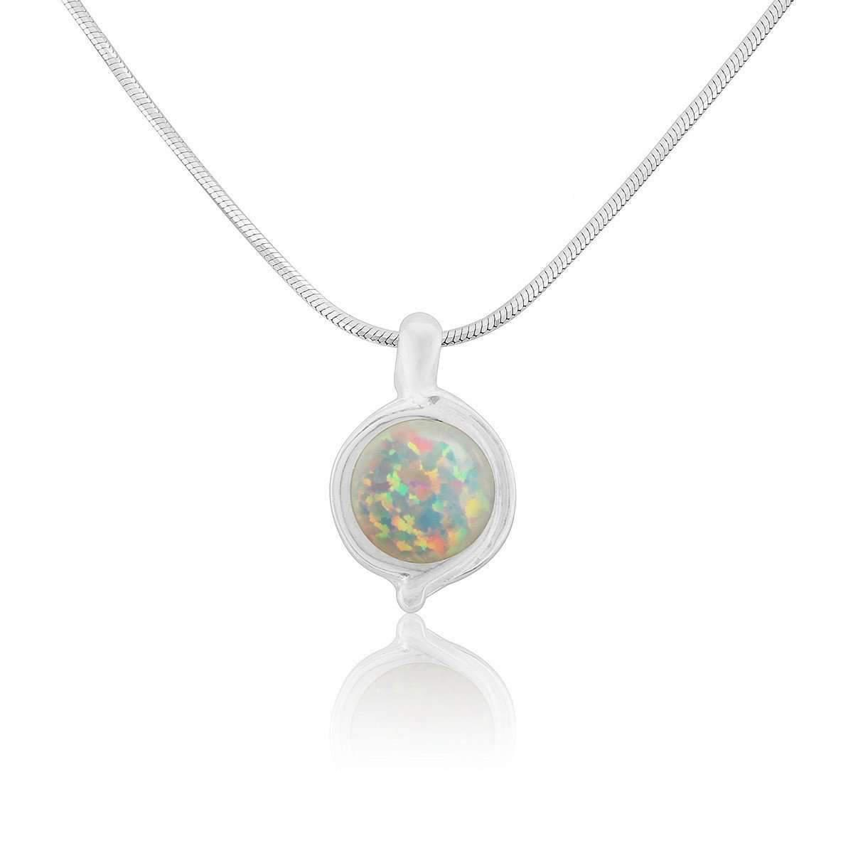 Lavan Silver Large White Opal Pendant - 16 Inches