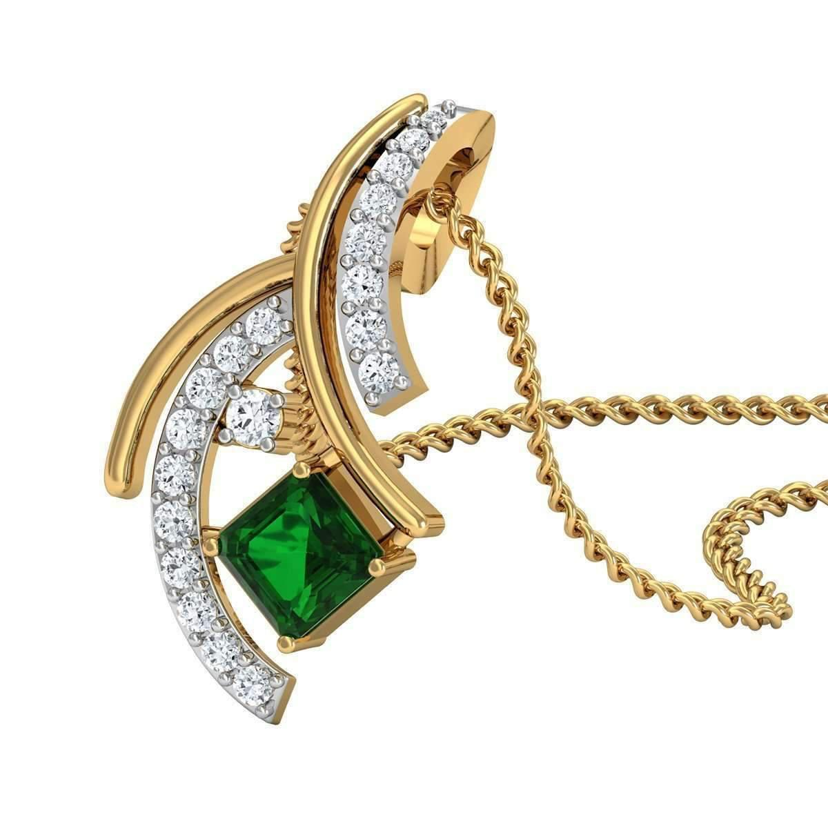 Diamoire Jewels Hand-carved 18kt Yellow Gold Pendant Set With Premium Emeralds and Diamonds 3iPOU