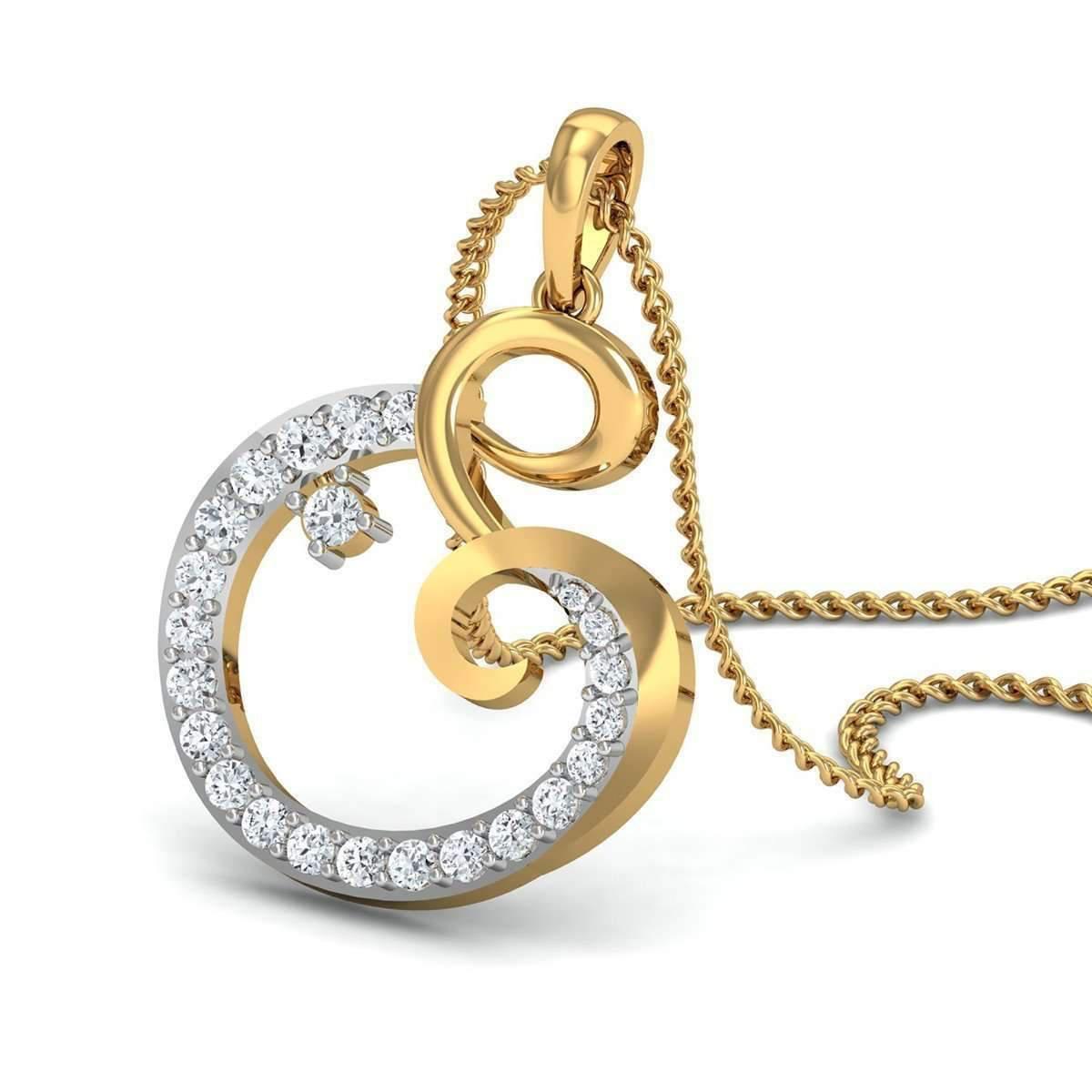 Diamoire Jewels Round Cut 24 Diamonds Pave Pendant in 14kt Yellow Gold UEZAhiU