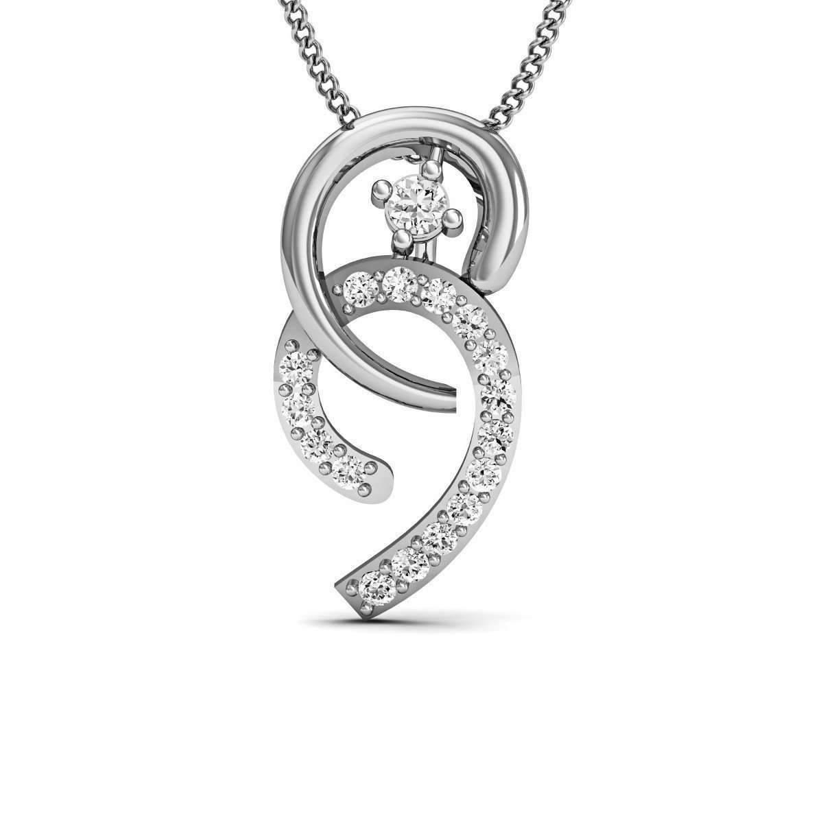 Diamoire Jewels Florid Diamond Pendant in 18kt White Gold mQV9CMbe